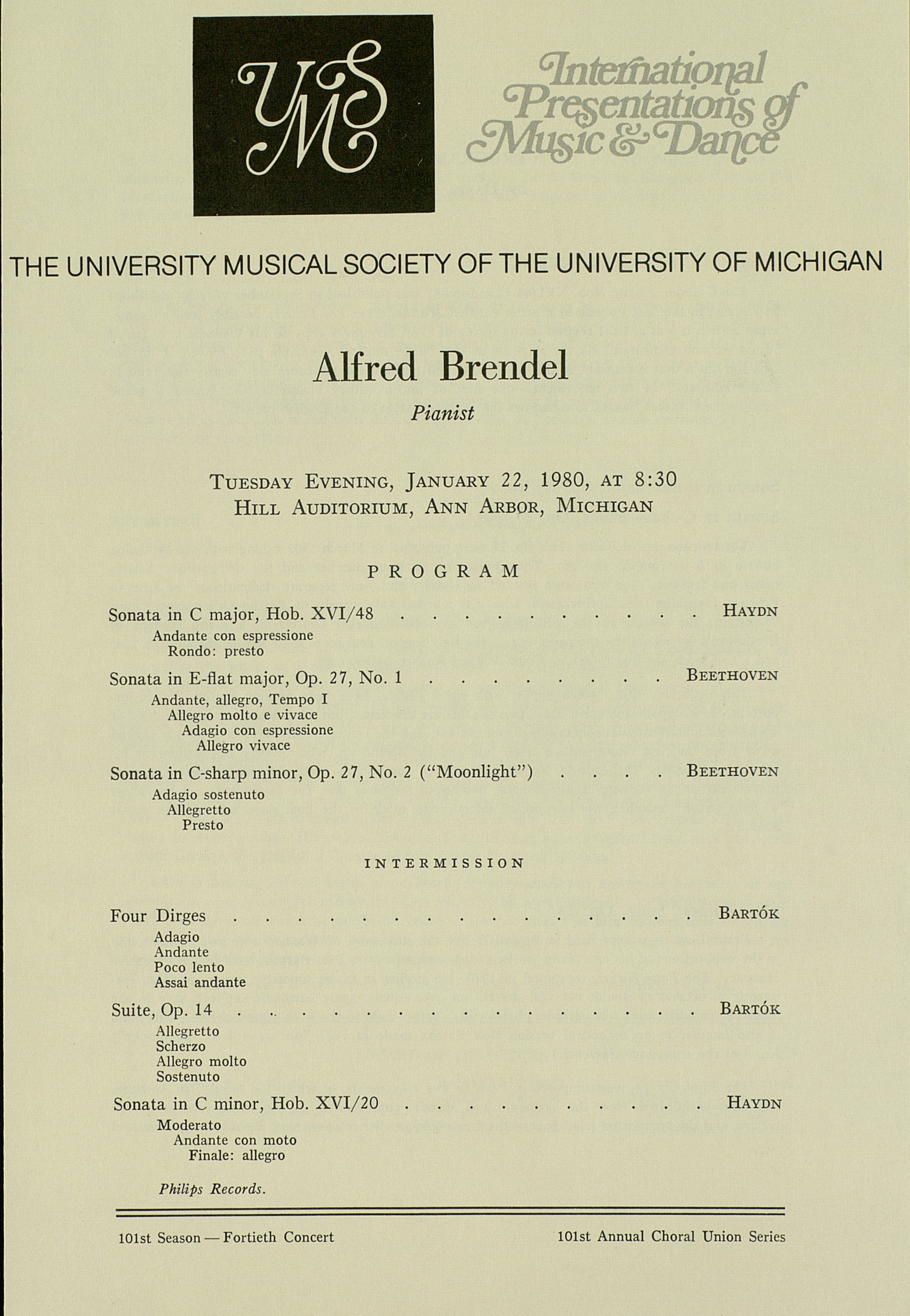 UMS Concert Program, January 22, 1980: International Presentations Of Music & Dance --  image