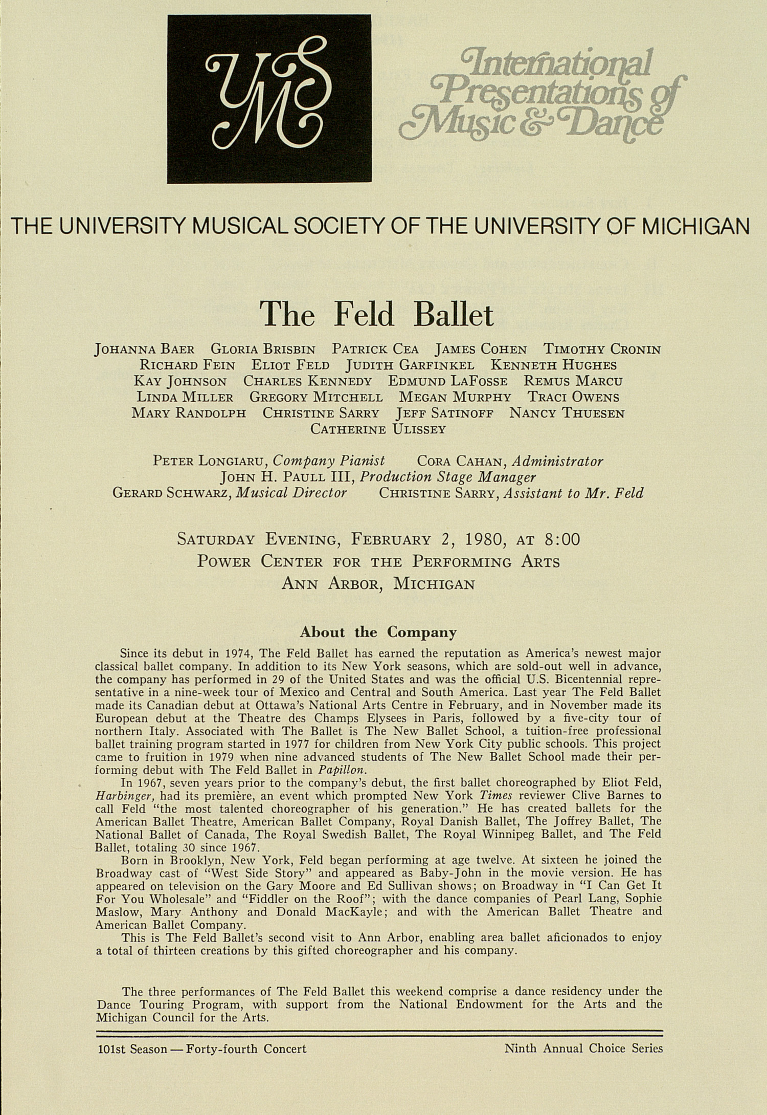 UMS Concert Program, February 2, 1980: The Feld Ballet --  image