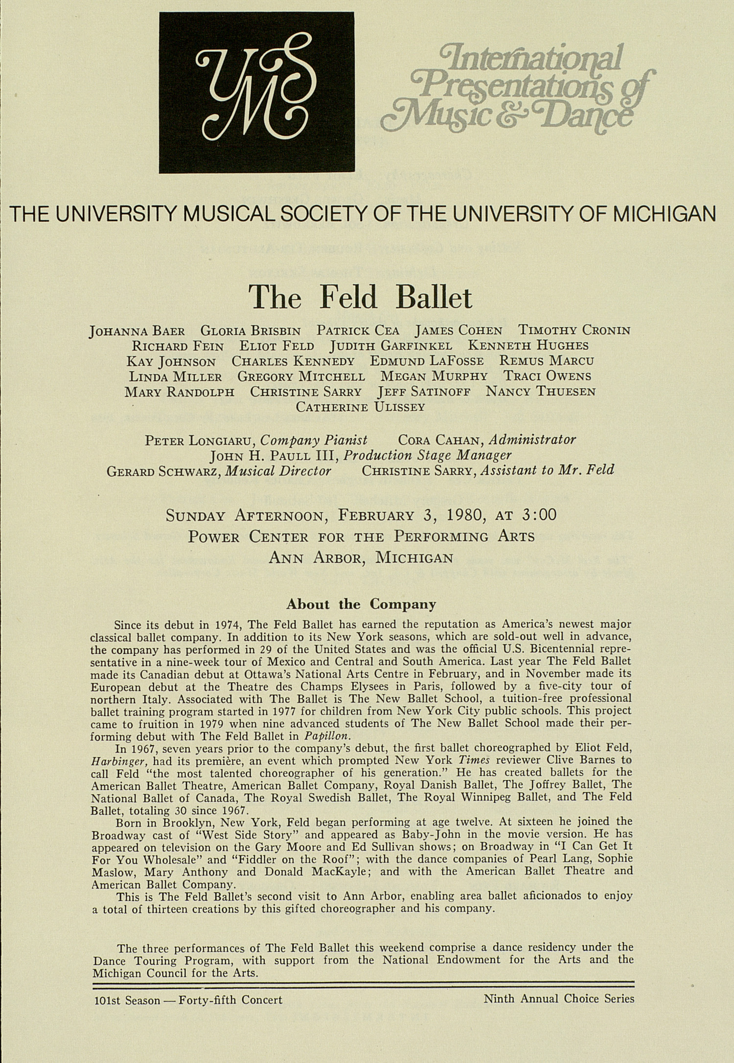 UMS Concert Program, February 3, 1980: The Feld Ballet --  image