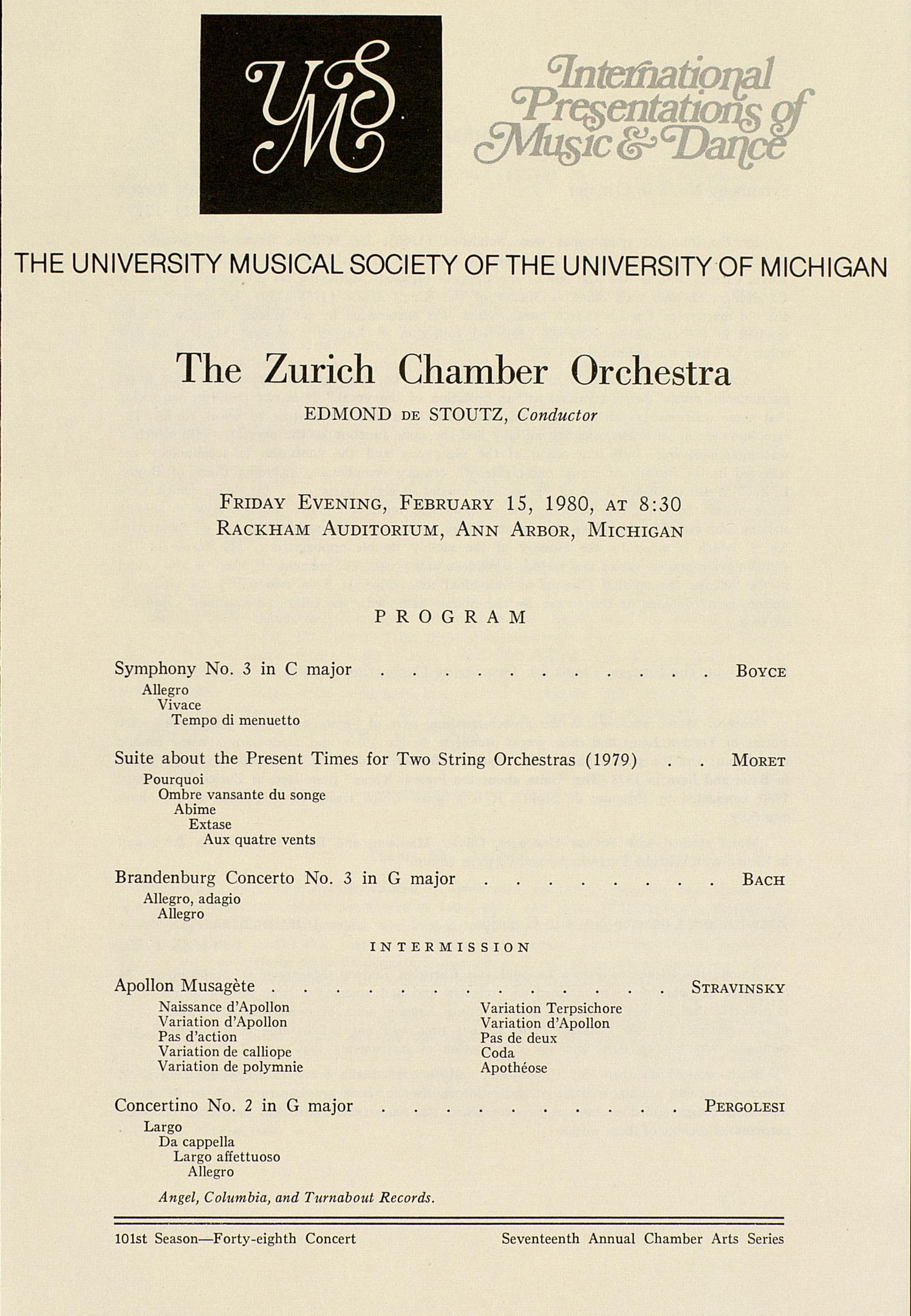 UMS Concert Program, February 15, 1980: International Presentations Of Music & Dance -- The Zurich Chamber Orchestra image