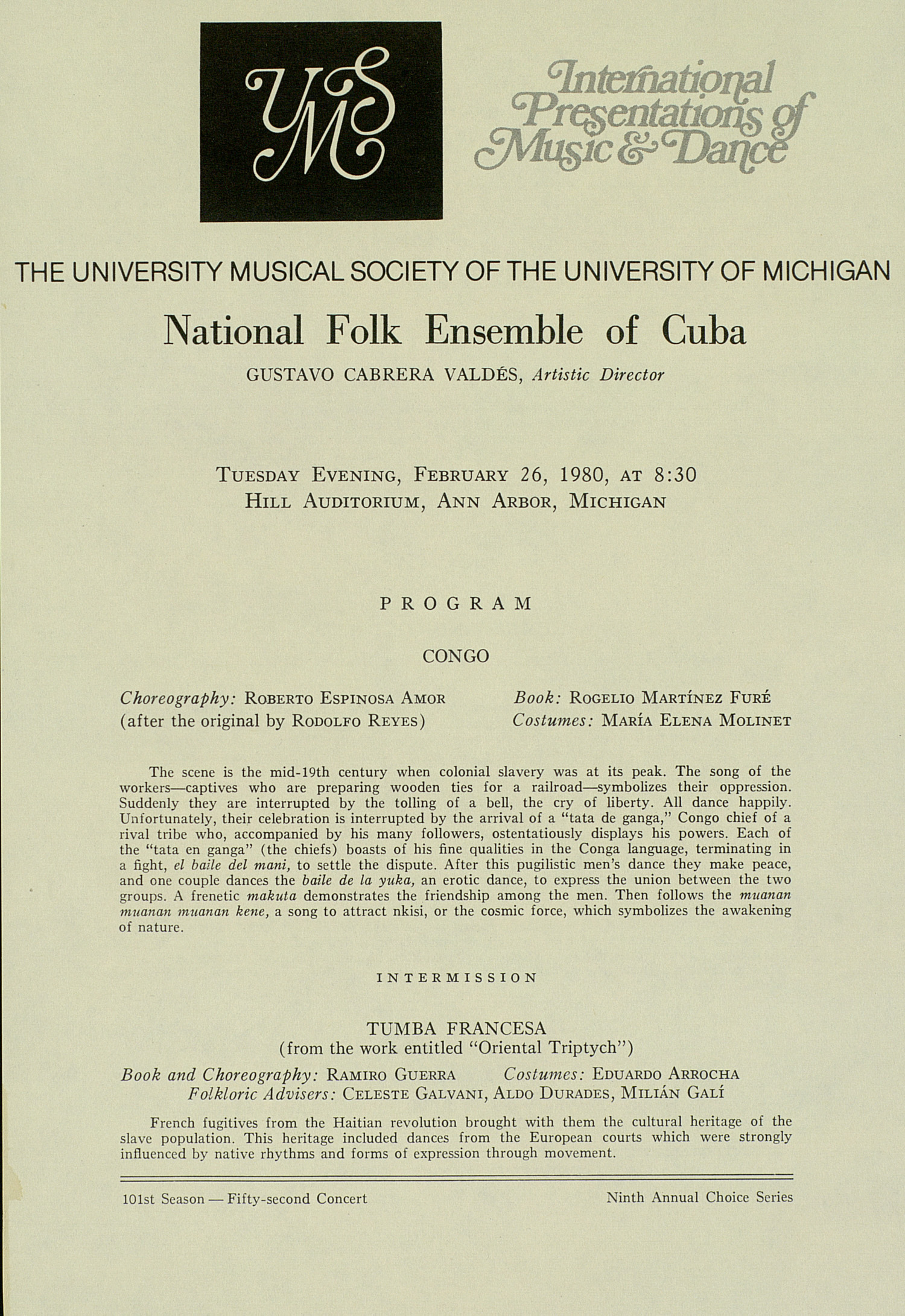 UMS Concert Program, February 26, 1980: National Folk Ensemble Of Cuba --  image