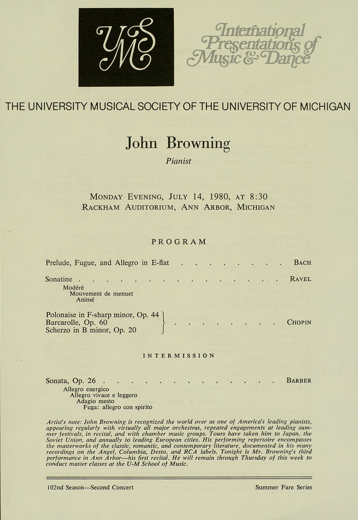 UMS Concert Program, July 14, 1980: International Presentations Of Music & Dance --  image