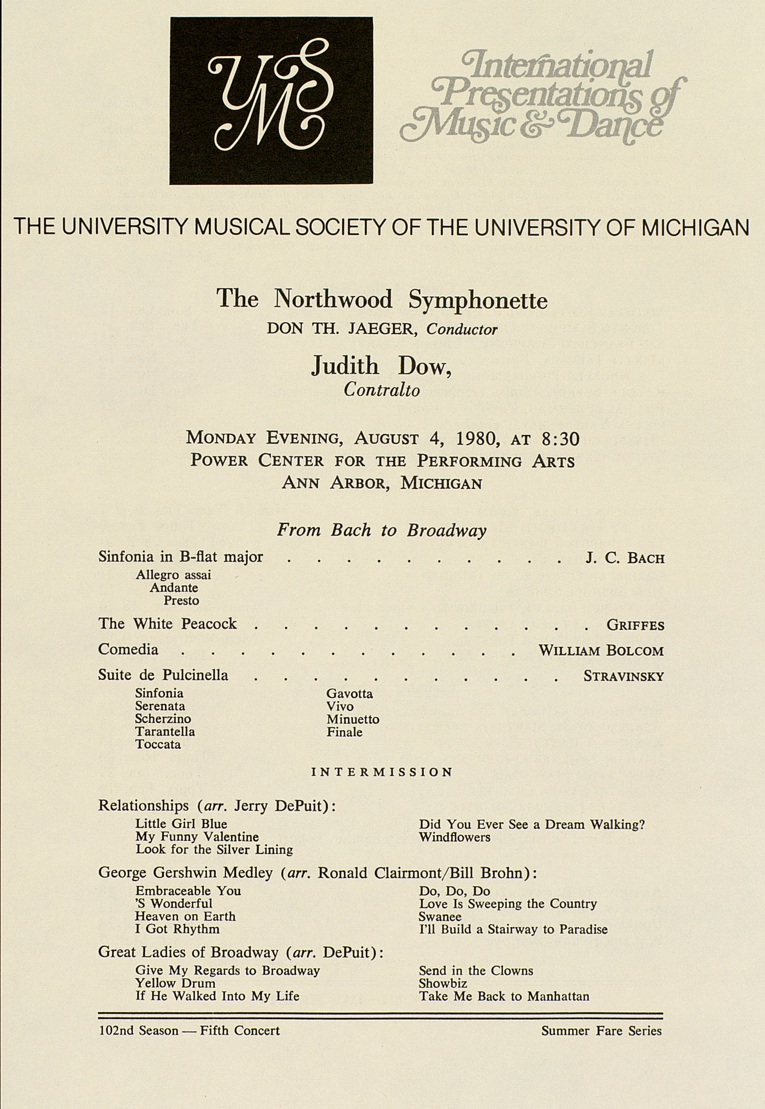 UMS Concert Program, August 4, 1980: International Presentations Of Music & Dance -- The Northwood Symphonette image