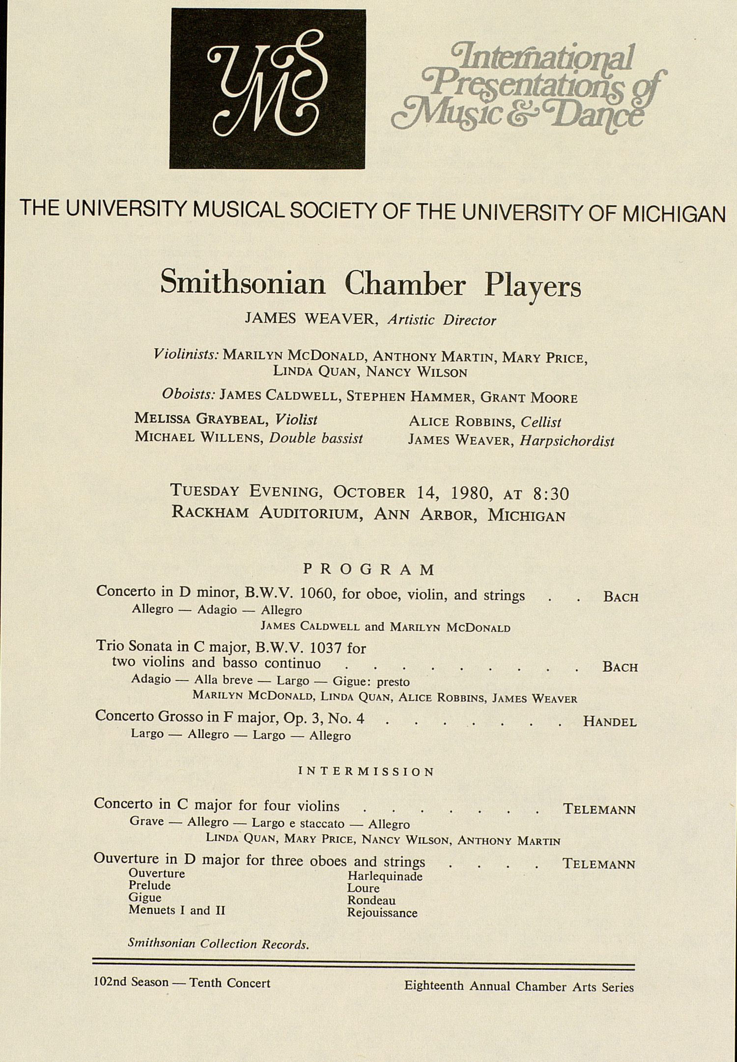 UMS Concert Program, October 14, 1980: Smithsonian Chamber Players --  image