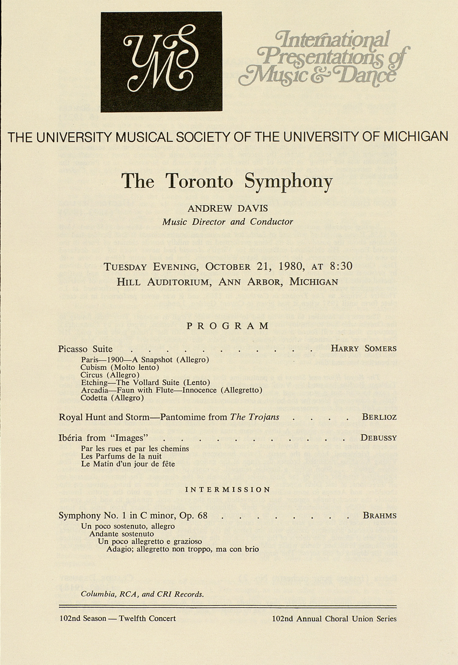 UMS Concert Program, October 21, 1980: International Presentations Of Music & Dance -- The Toronto Symphony image