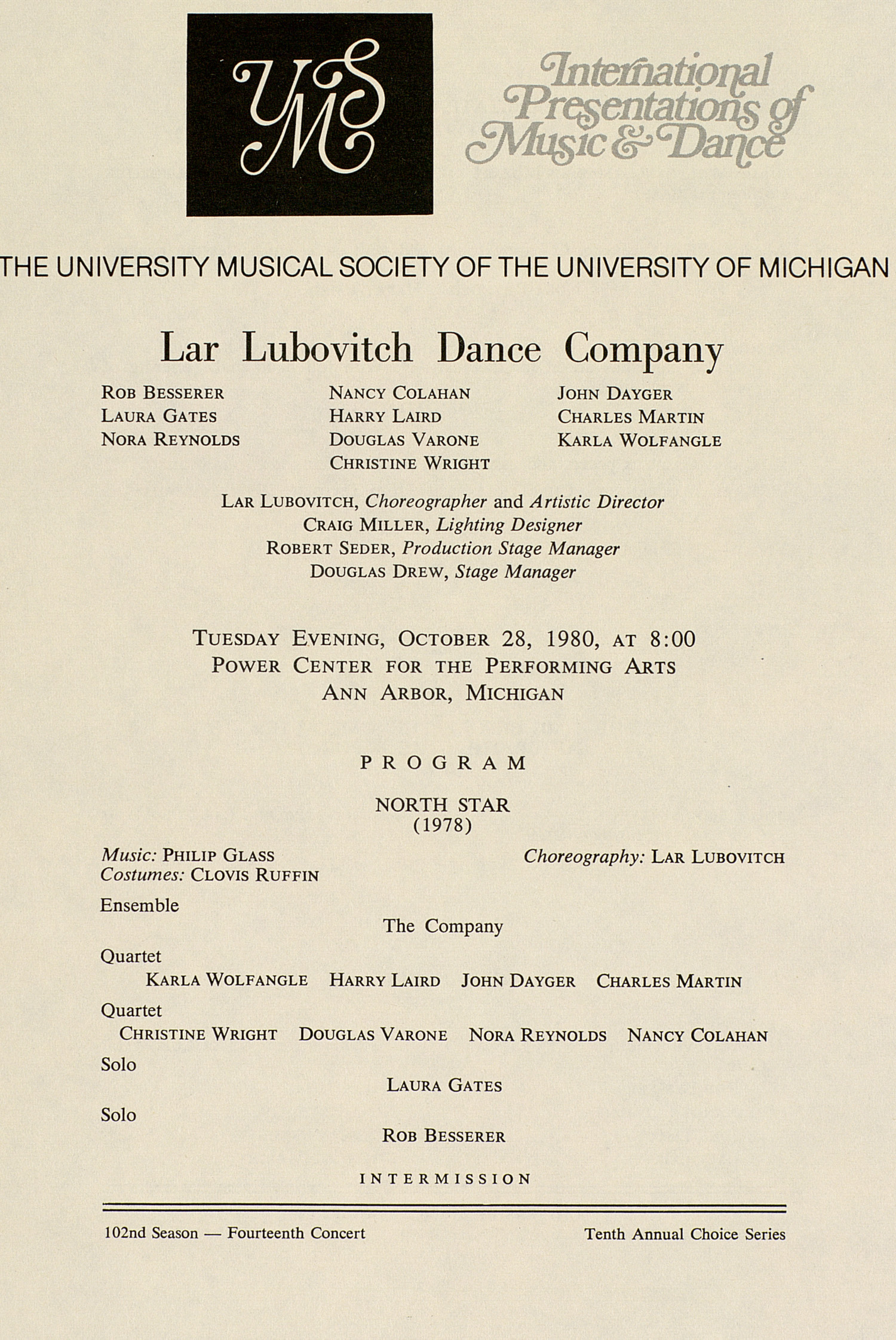 UMS Concert Program, October 28, 1980: International Presentations Of Music & Dance -- Lar Lubovitch Dance Company image