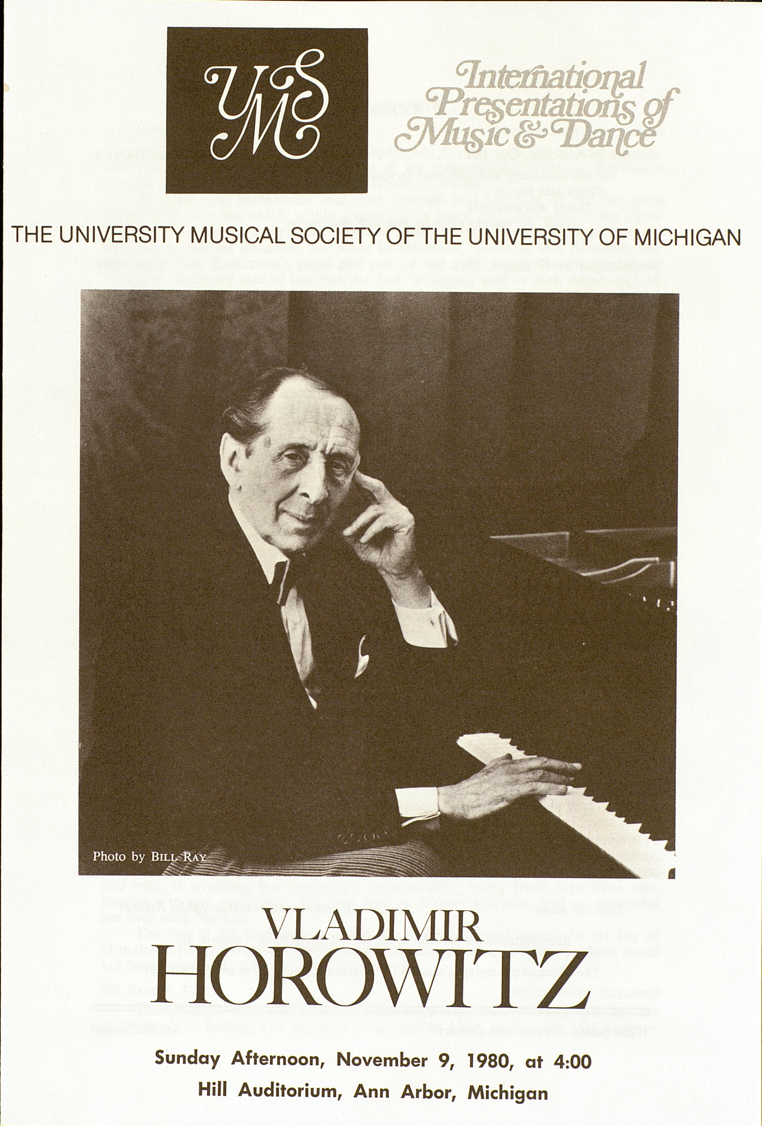 UMS Concert Program, November 9, 1980: Vladimir Horowitz --  image
