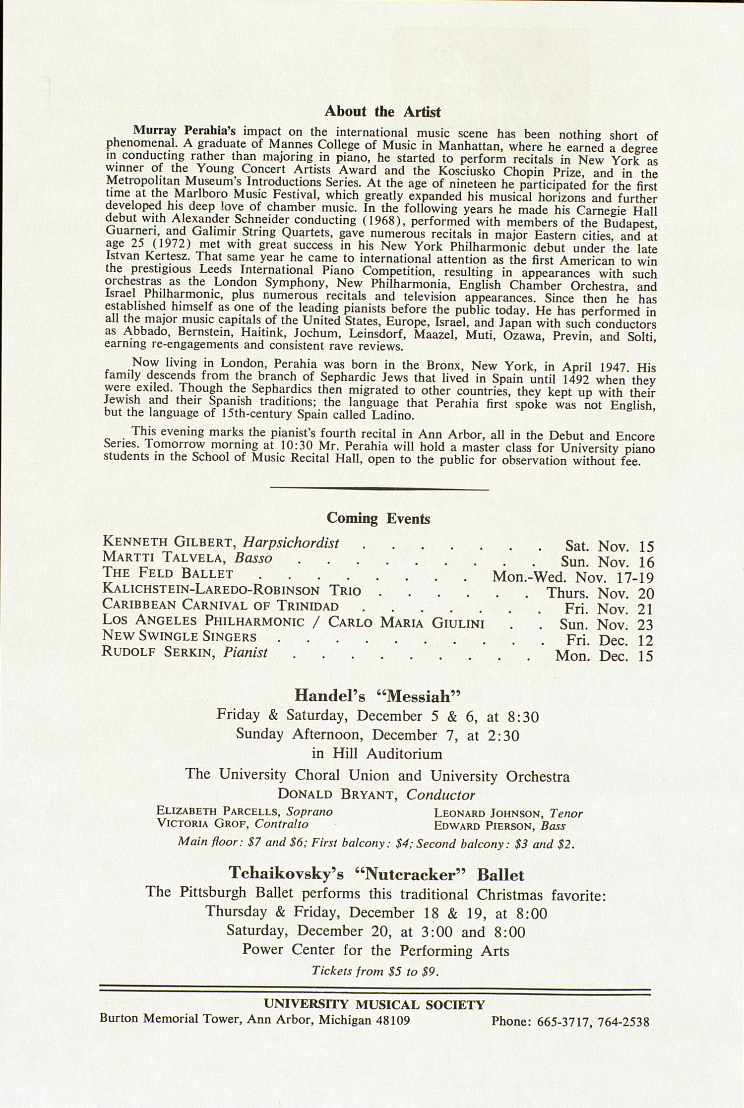 UMS Concert Program, November 13, 1980: International Presentations Of Music & Dance --  image