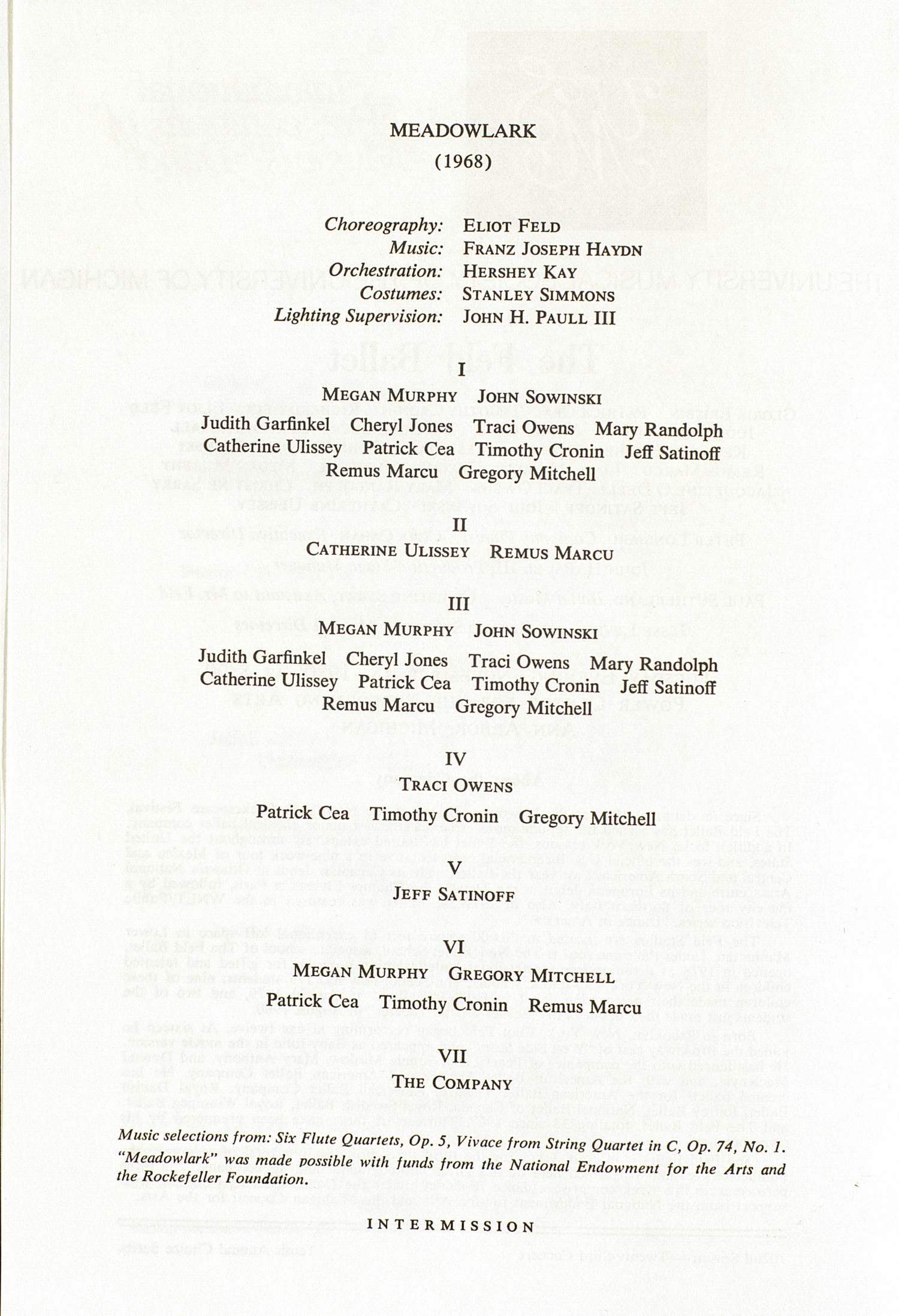 UMS Concert Program, November 18, 1980: The Feld Ballet --  image