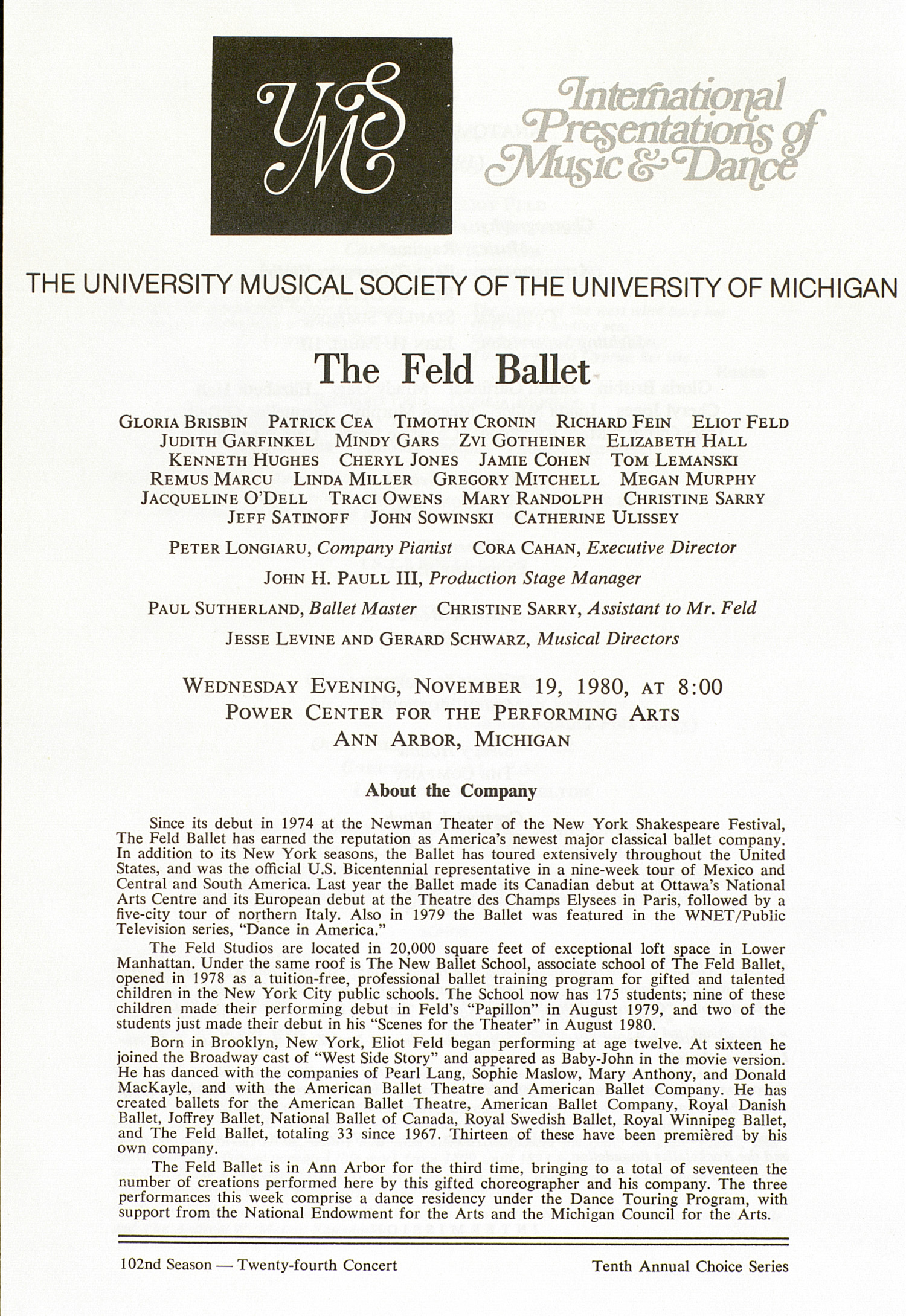 UMS Concert Program, November 19, 1980: The Feld Ballet --  image