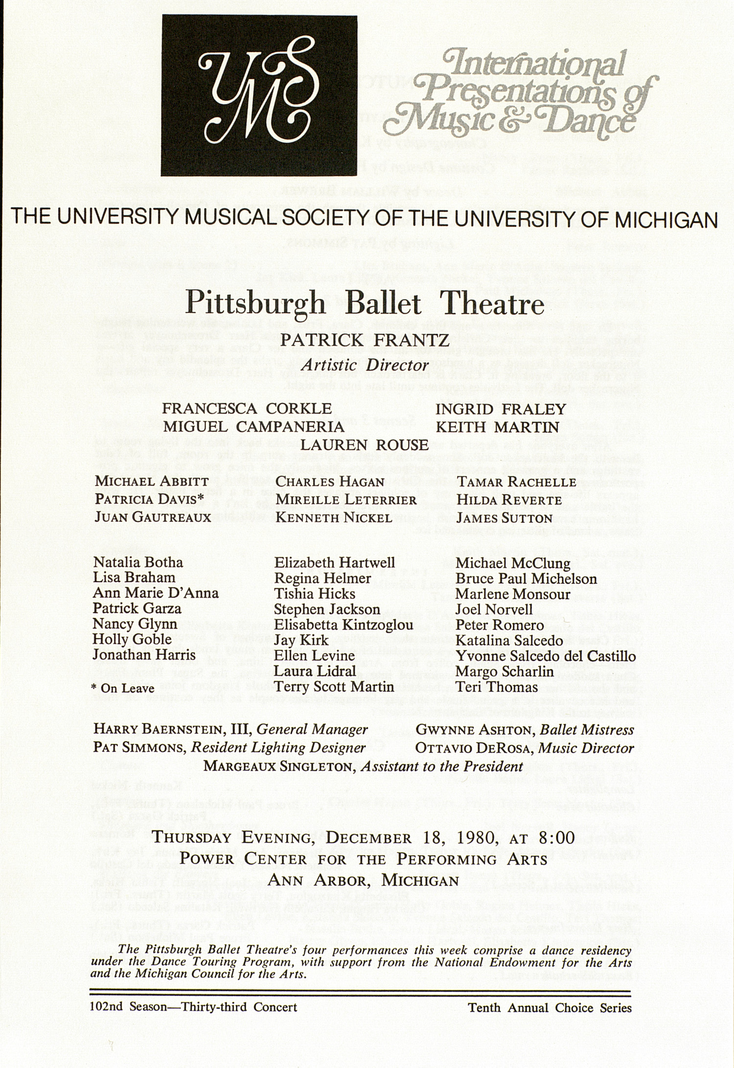 UMS Concert Program, December 18, 1980: International Presentations Of Music & Dance -- Pittsburgh Ballet Theatre image