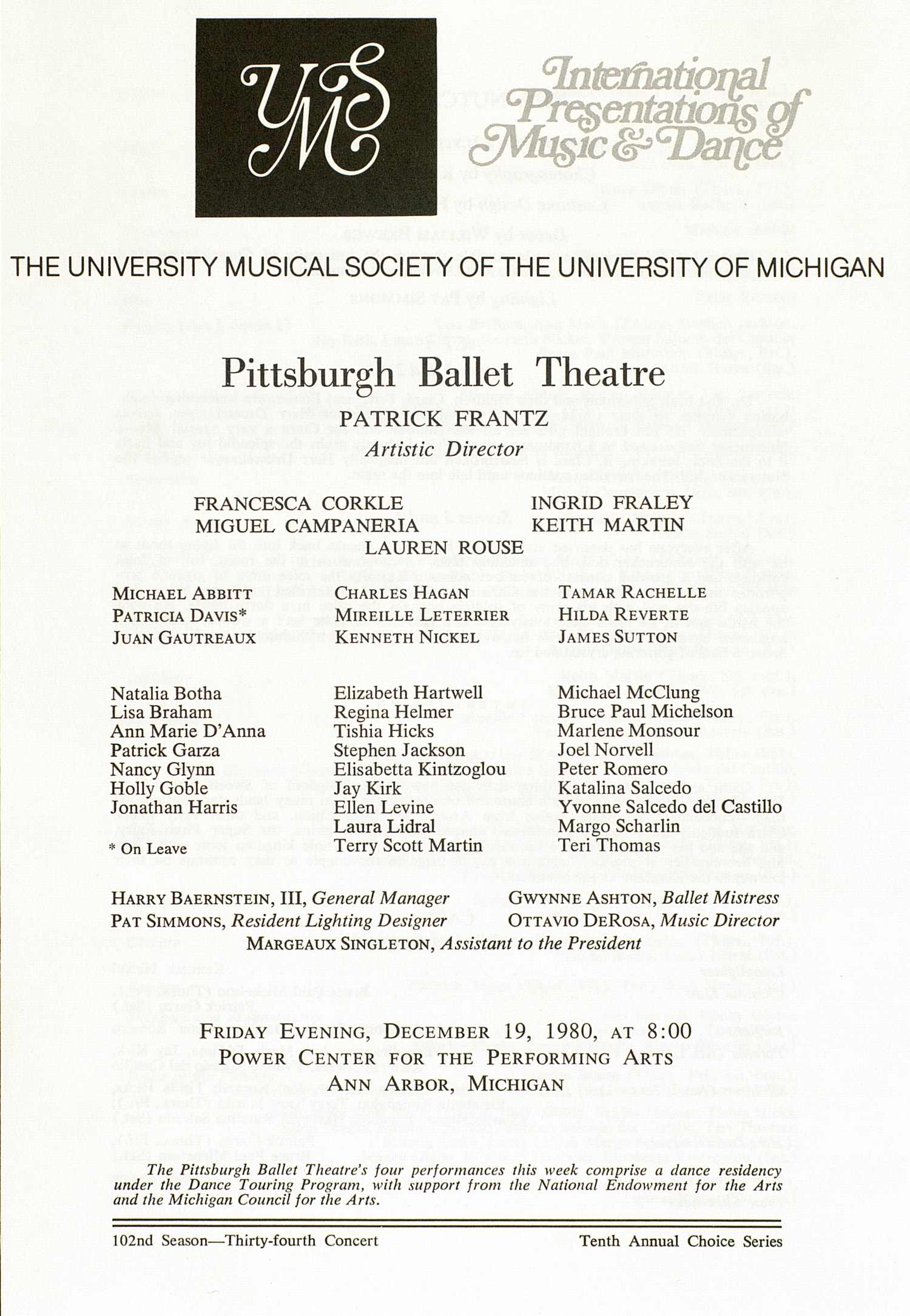 UMS Concert Program, December 19, 1980: International Presentations Of Music & Dance -- Pittsburgh Ballet Theatre image