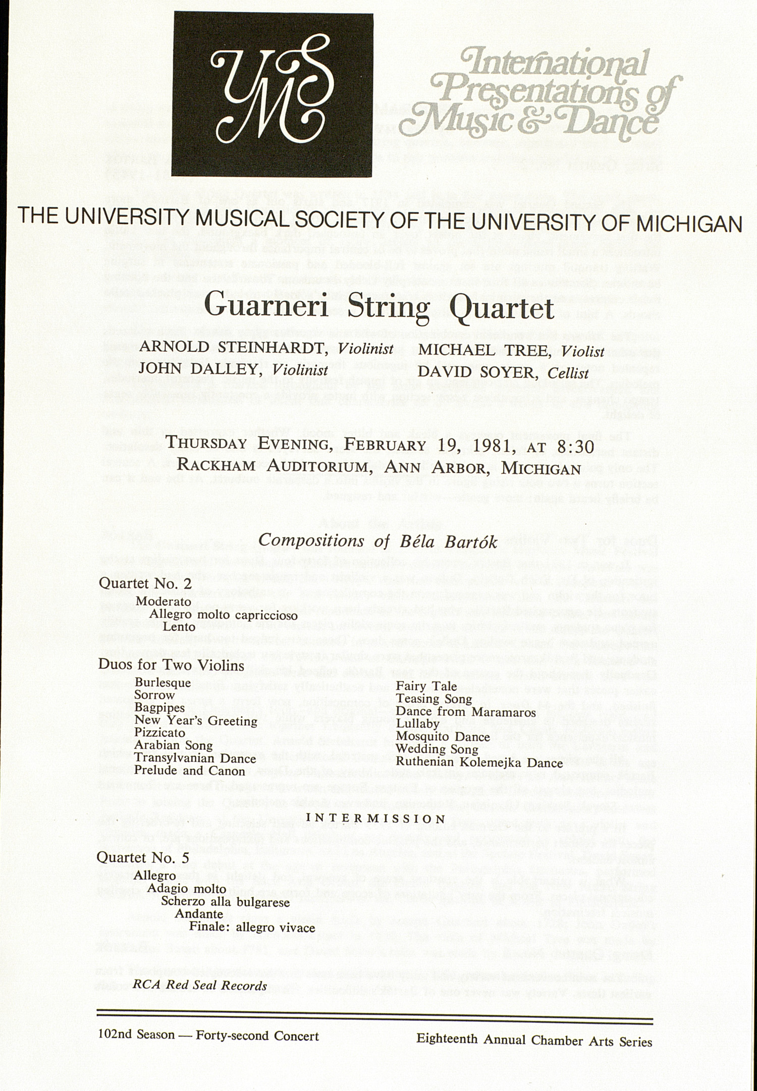 UMS Concert Program, February 19, 1981: Guarneri String Quartet --  image