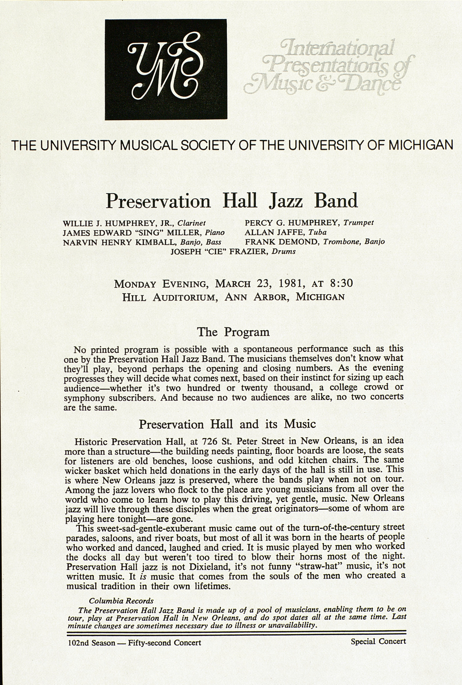 UMS Concert Program, March 23, 1981: Preservation Hall Jazz Band --  image