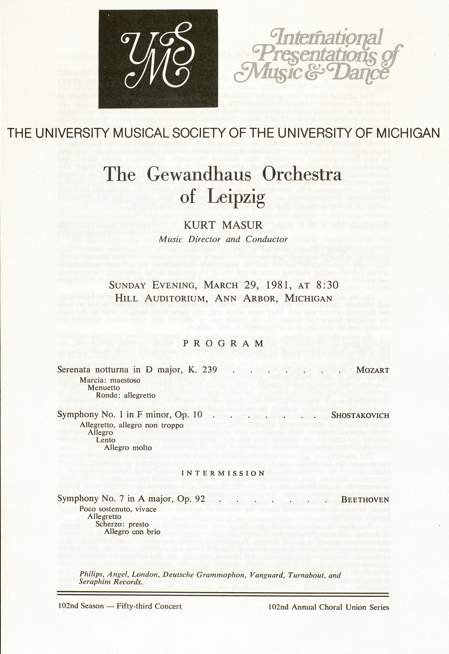 UMS Concert Program, March 29, 1981: International Presentations Of Music & Dance -- The Gewandhaus Orchestra Of Leipzig image