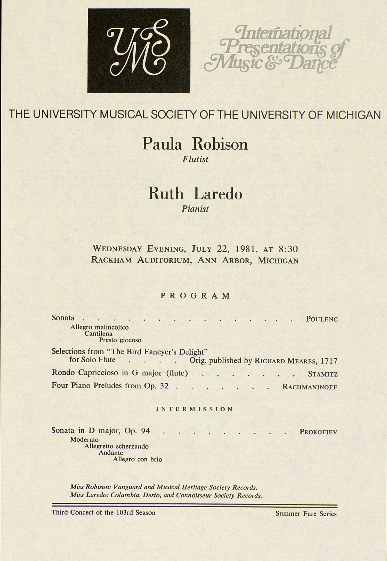 UMS Concert Program, July 22, 1981: International Presentations Of Music & Dance --  image