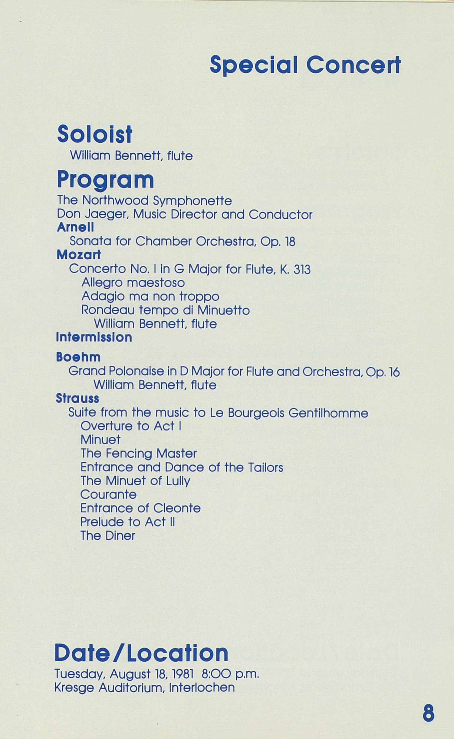 UMS Concert Program, August 523, 1981: Festival Of The Lakes --  image