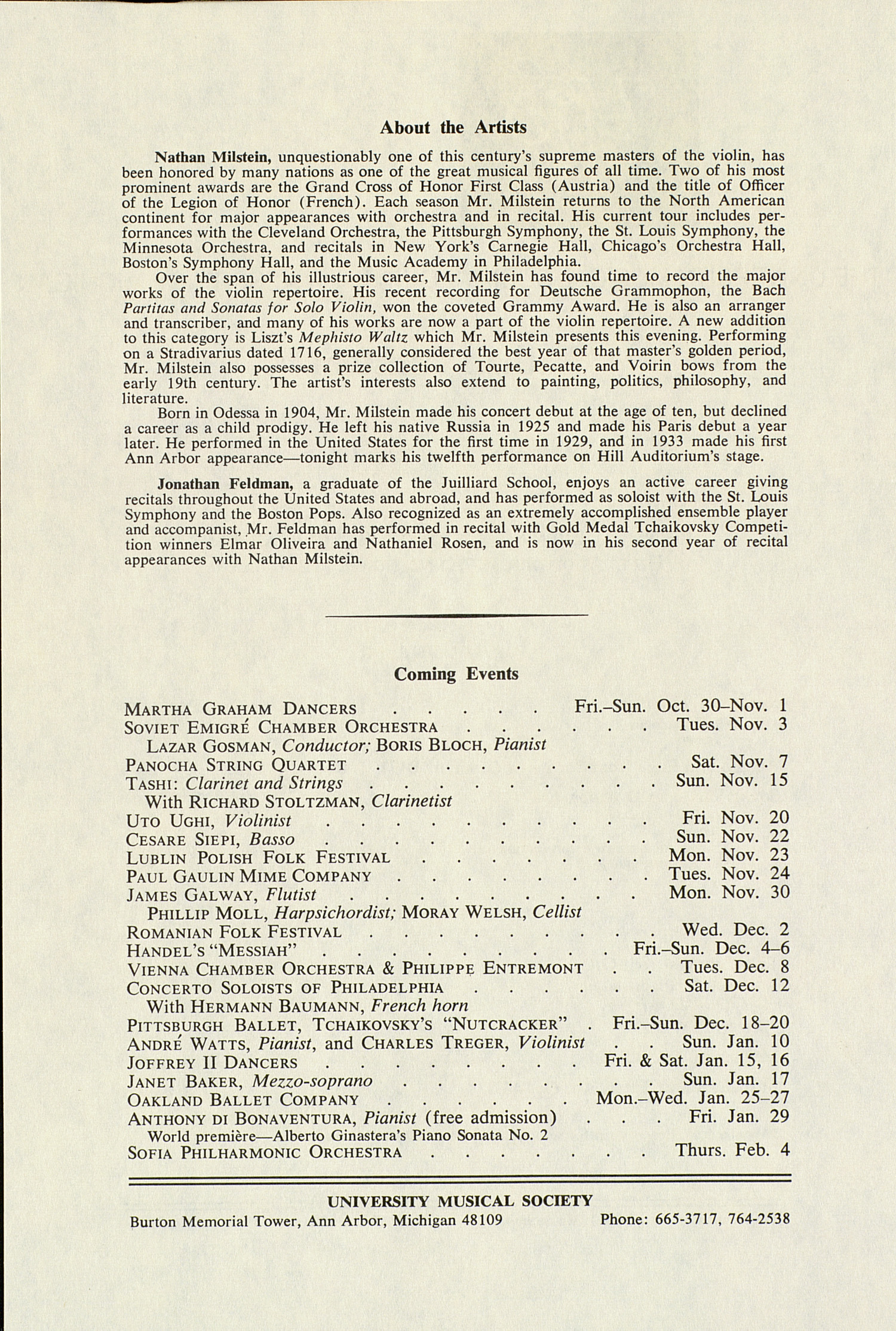 UMS Concert Program, October 29, 1981: International Presentations Of Music & Dance --  image