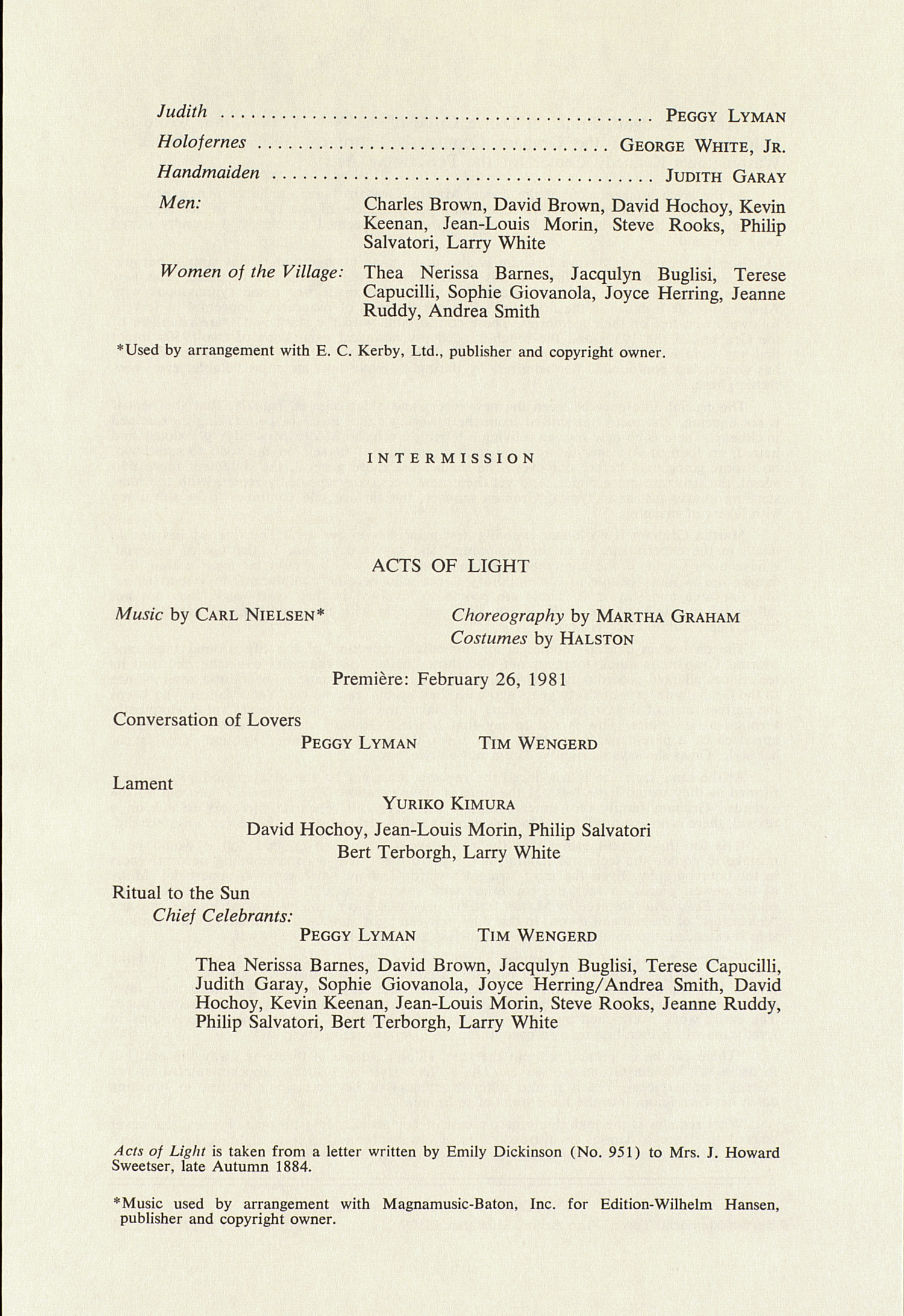 UMS Concert Program, October 30, 1981: International Presentations Of Music & Dance -- Martha Graham Dance Company image