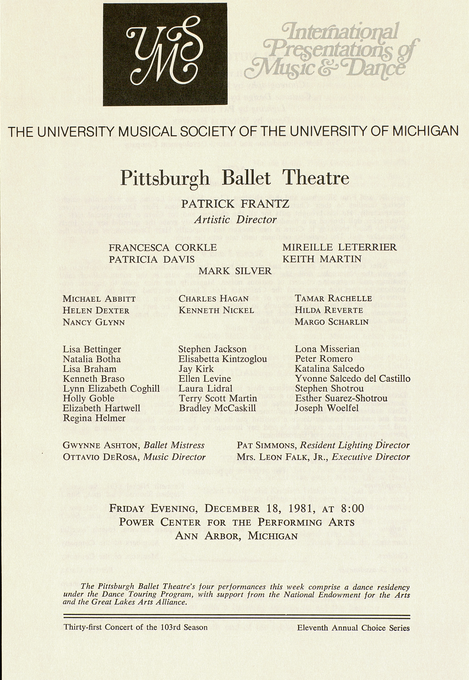 UMS Concert Program, December 18, 1981: International Presentations Of Music & Dance -- Pittsburgh Ballet Theatre image