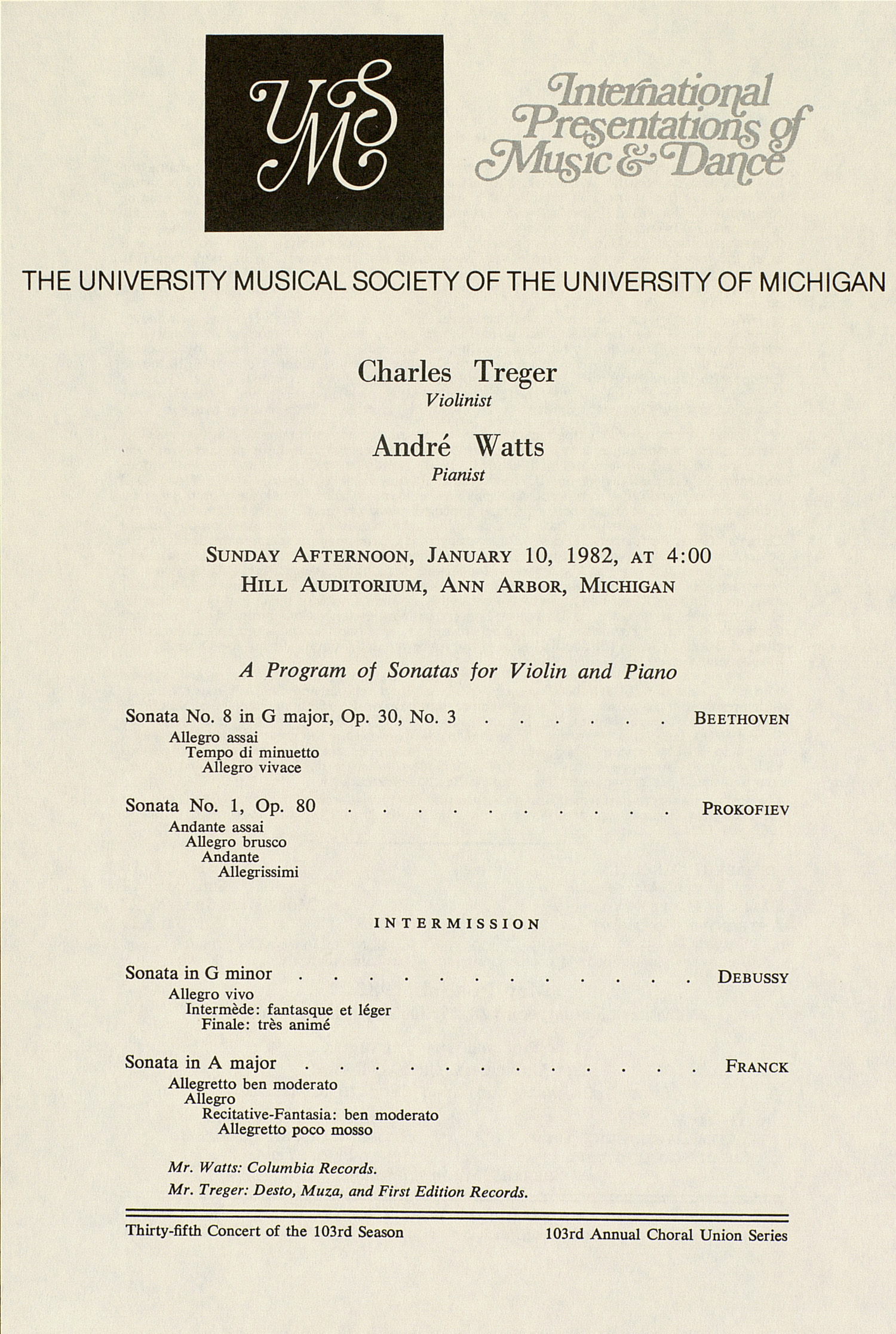 UMS Concert Program, January 10, 1982: International Presentations Of Music & Dance --  image