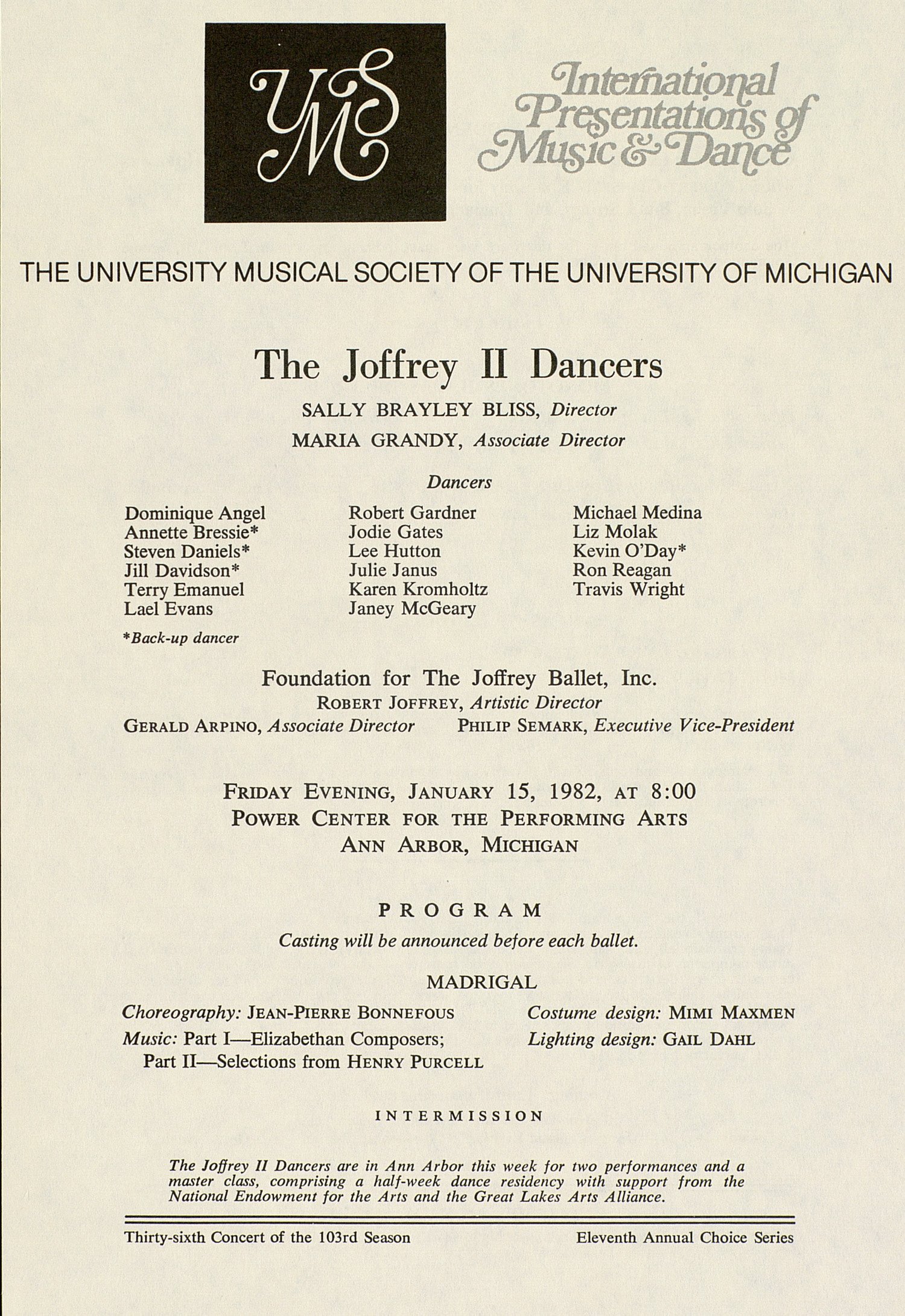 UMS Concert Program, January 15, 1982: The Joffrey II Dancers --  image