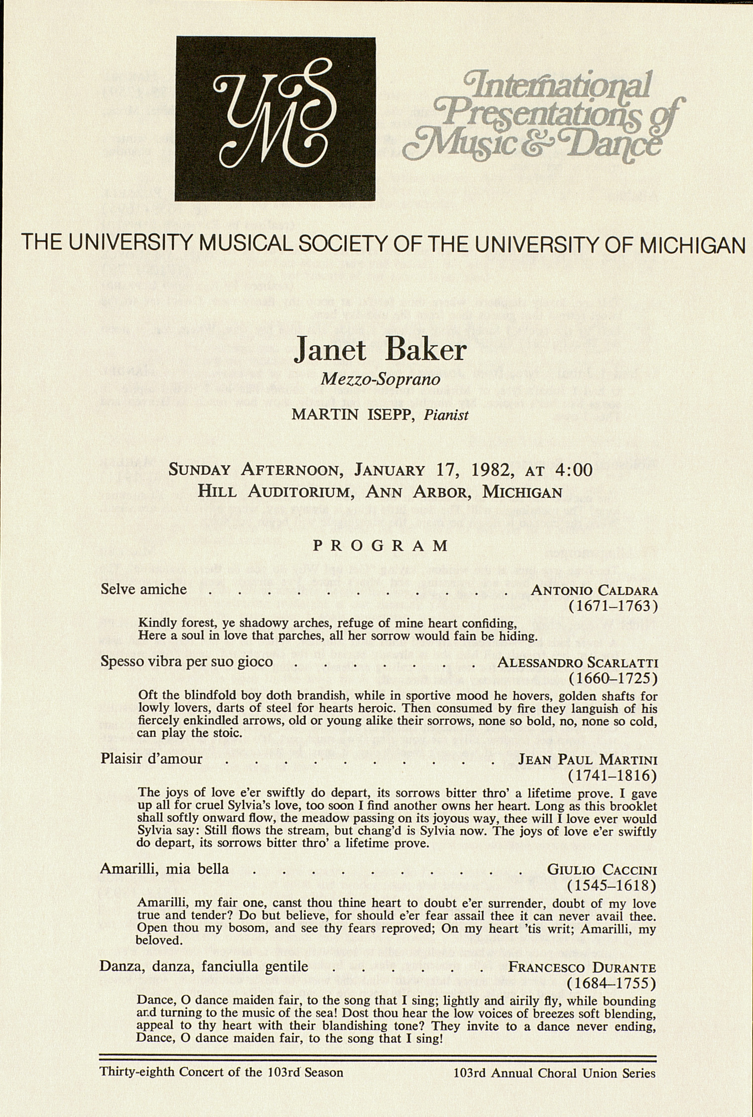 UMS Concert Program, January 17, 1982: International Presentations Of Music & Dance --  image