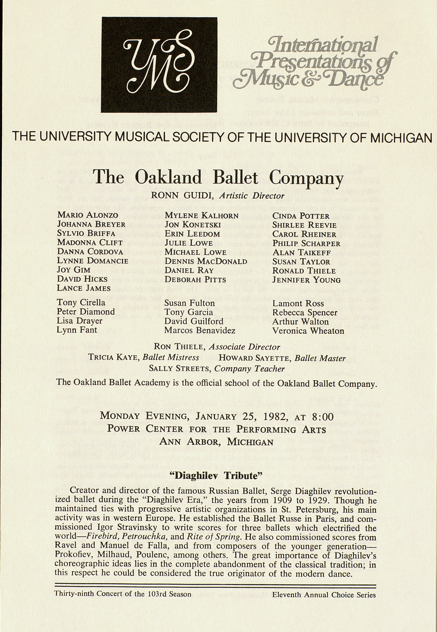 UMS Concert Program, January 25, 1982: International Presentations Of Music & Dance -- The Oakland Ballet Company image