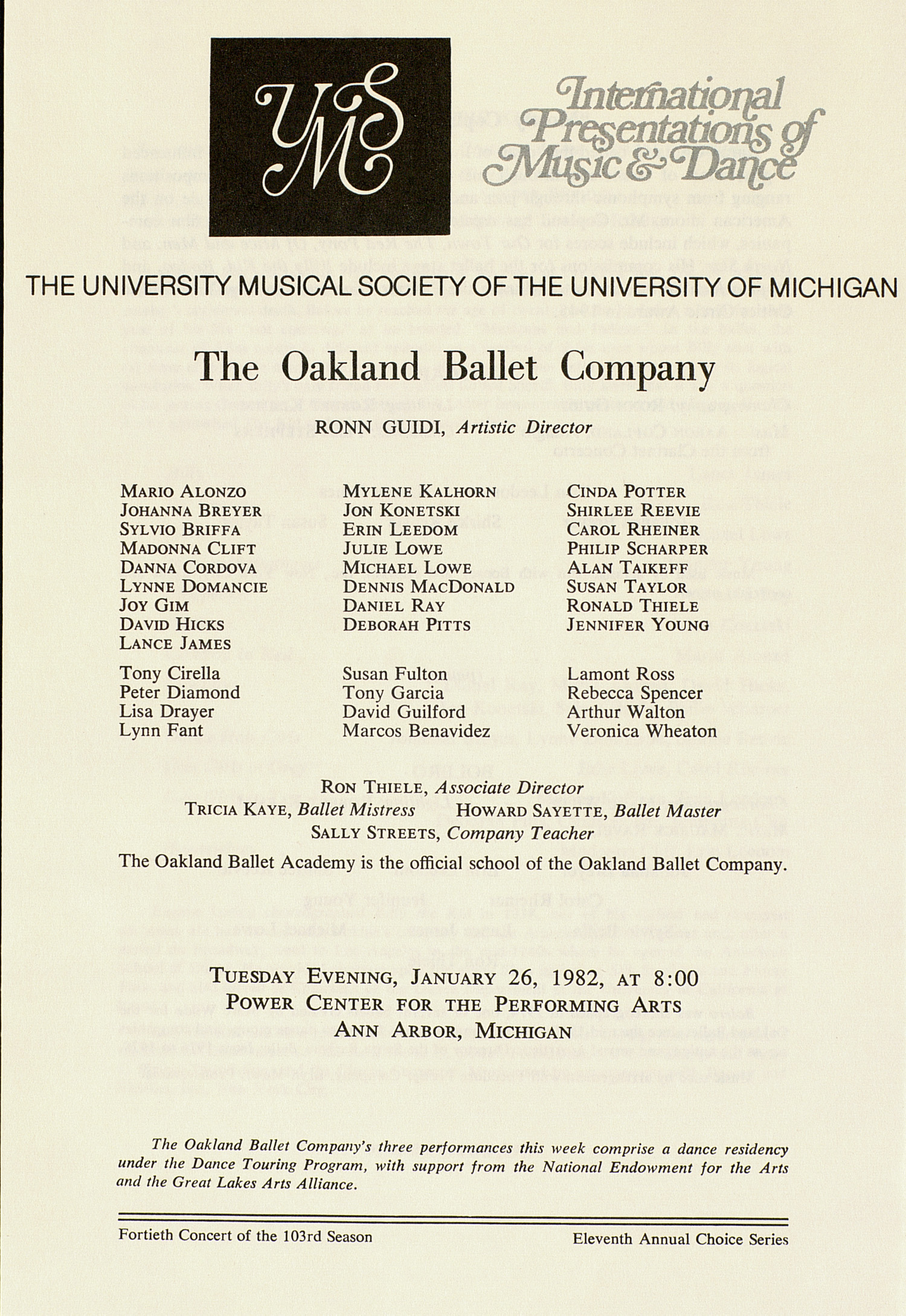 UMS Concert Program, January 26, 1982: International Presentations Of Music & Dance -- The Oakland Ballet Company image