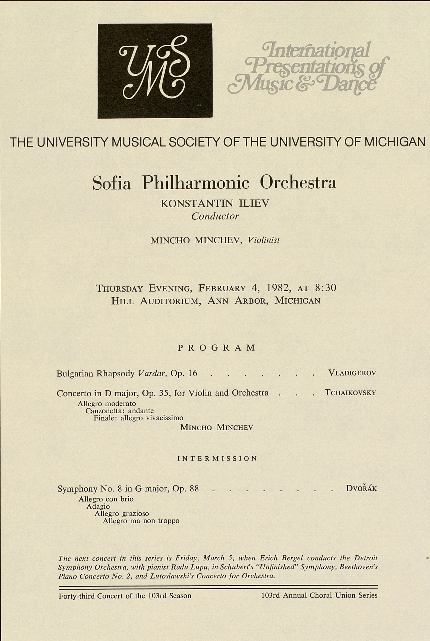 UMS Concert Program, February 4, 1982: International Presentations Of Music & Dance -- Sofia Philharmonic Orchestra image
