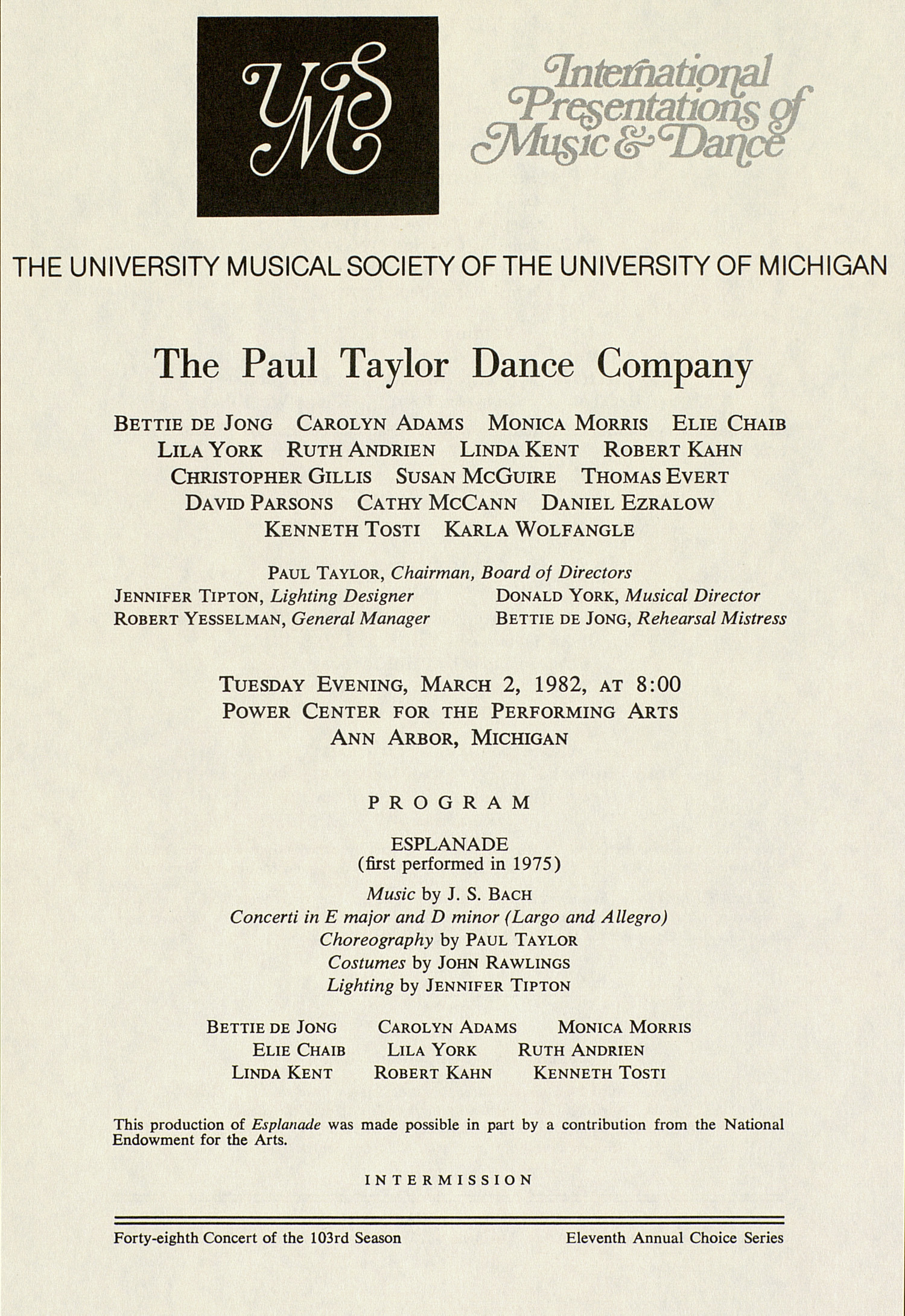 UMS Concert Program, March 2, 1982: International Presentations Of Music & Dance -- The Paul Taylor Dance Company image