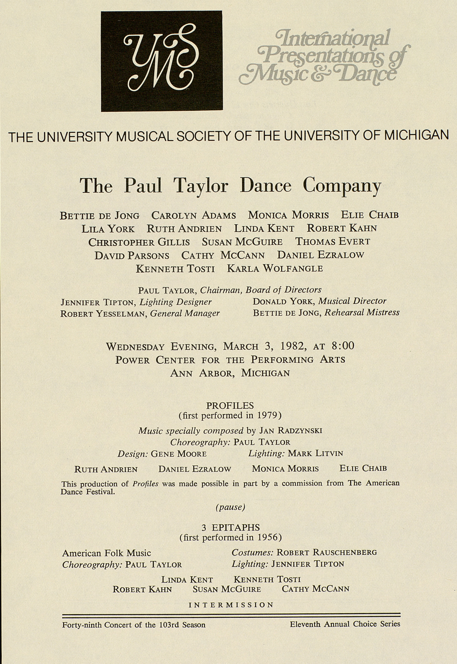UMS Concert Program, March 3, 1982: International Presentations Of Music & Dance -- The Paul Taylor Dance Company image