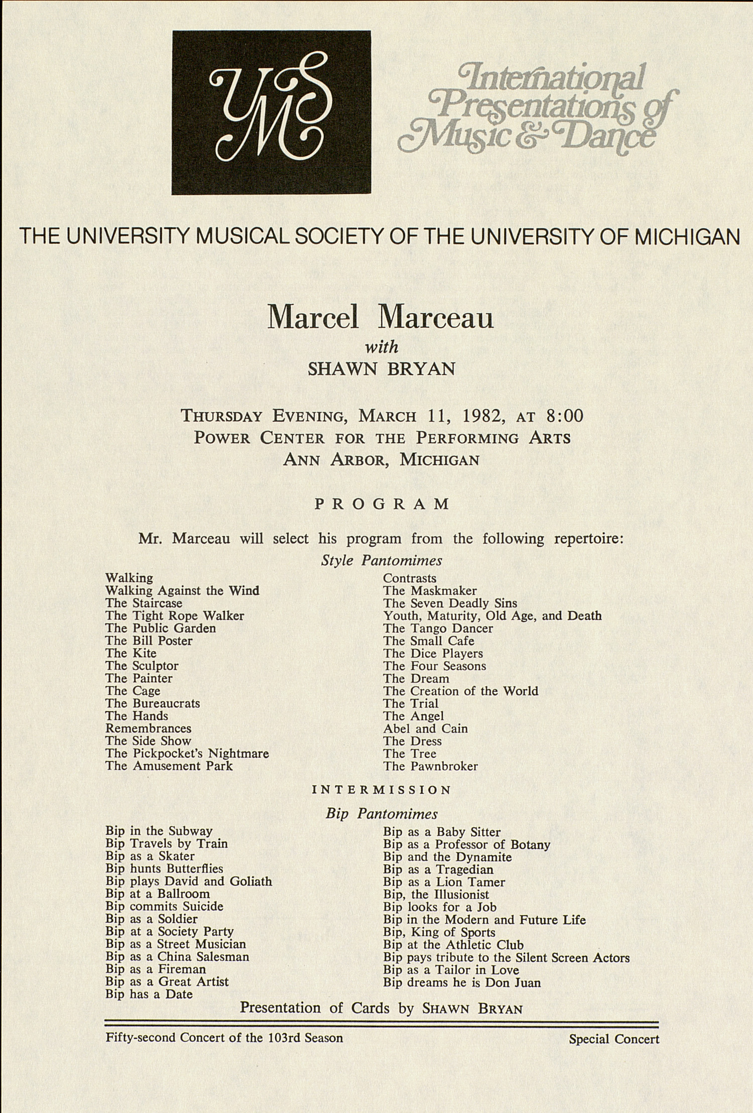 UMS Concert Program, March 11, 1982: International Presentations Of Music & Dance -- Marcel Marceau With Shawn Bryan image