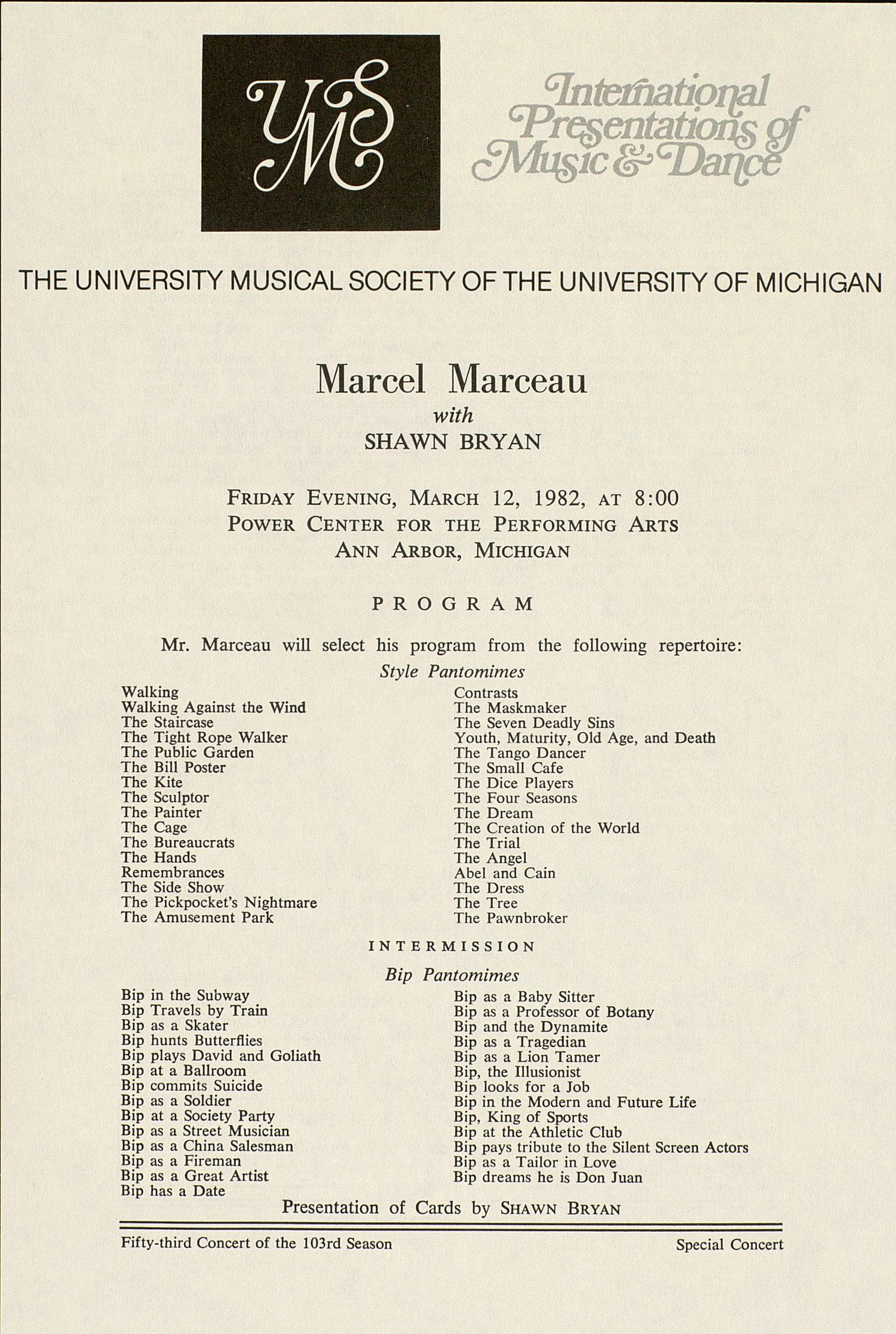 UMS Concert Program, March 12, 1982: International Presentations Of Music & Dance -- Marcel Marceau With Shawn Bryan image