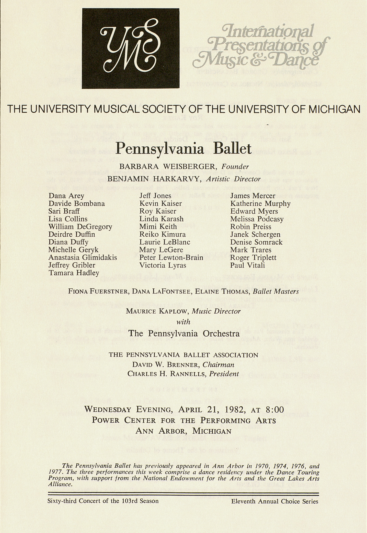 UMS Concert Program, April 21, 1982: Pennsylvania Ballet --  image