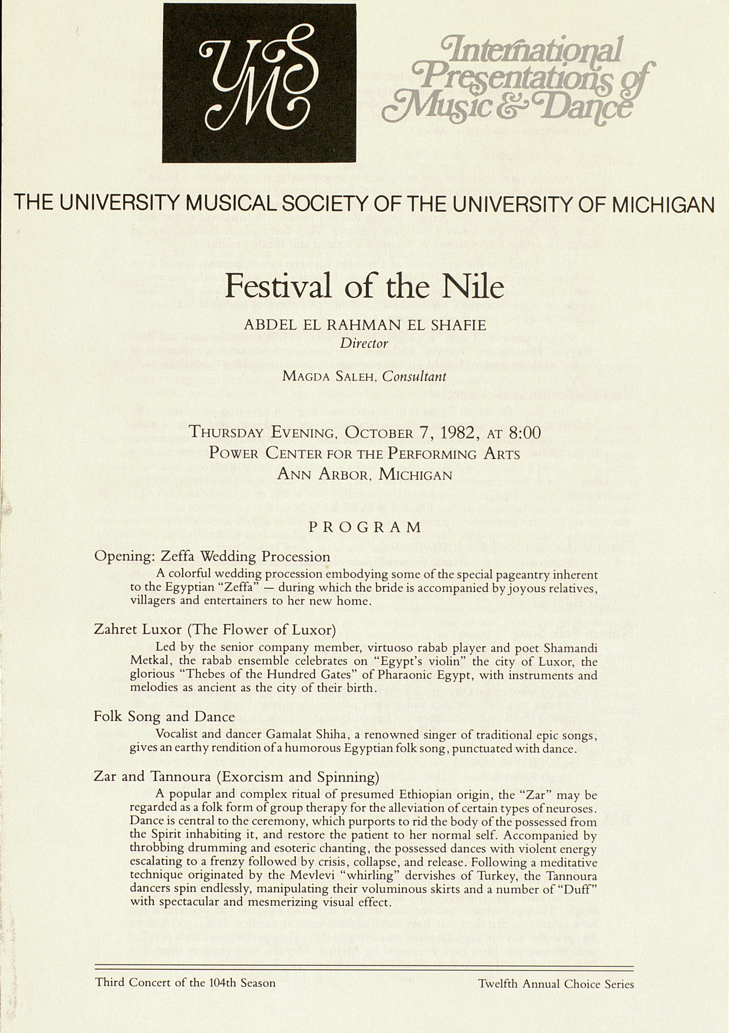 UMS Concert Program, October 7, 1982: Festival Of The Nile --  image