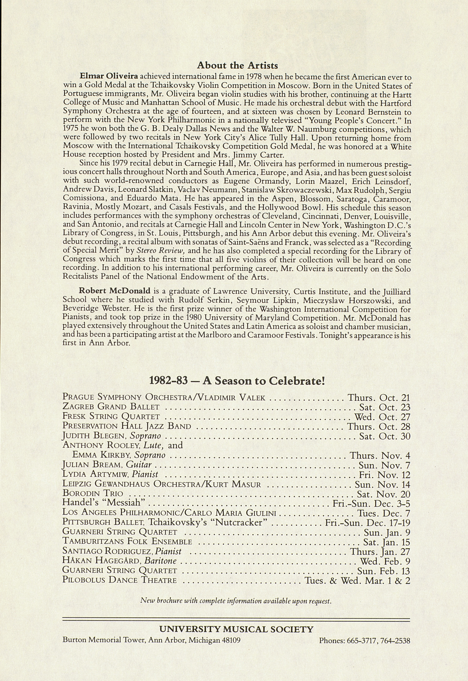 UMS Concert Program, October 18, 1982: International Presentations Of Music & Dance --  image
