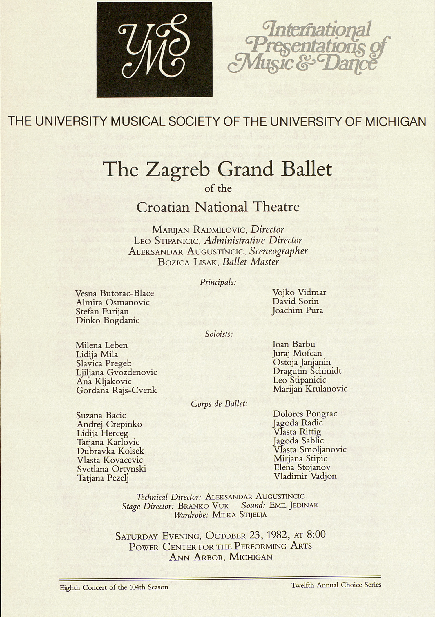 UMS Concert Program, October 23, 1982: The Zagreb Grand Ballet Of The Croatian National Theatre --  image