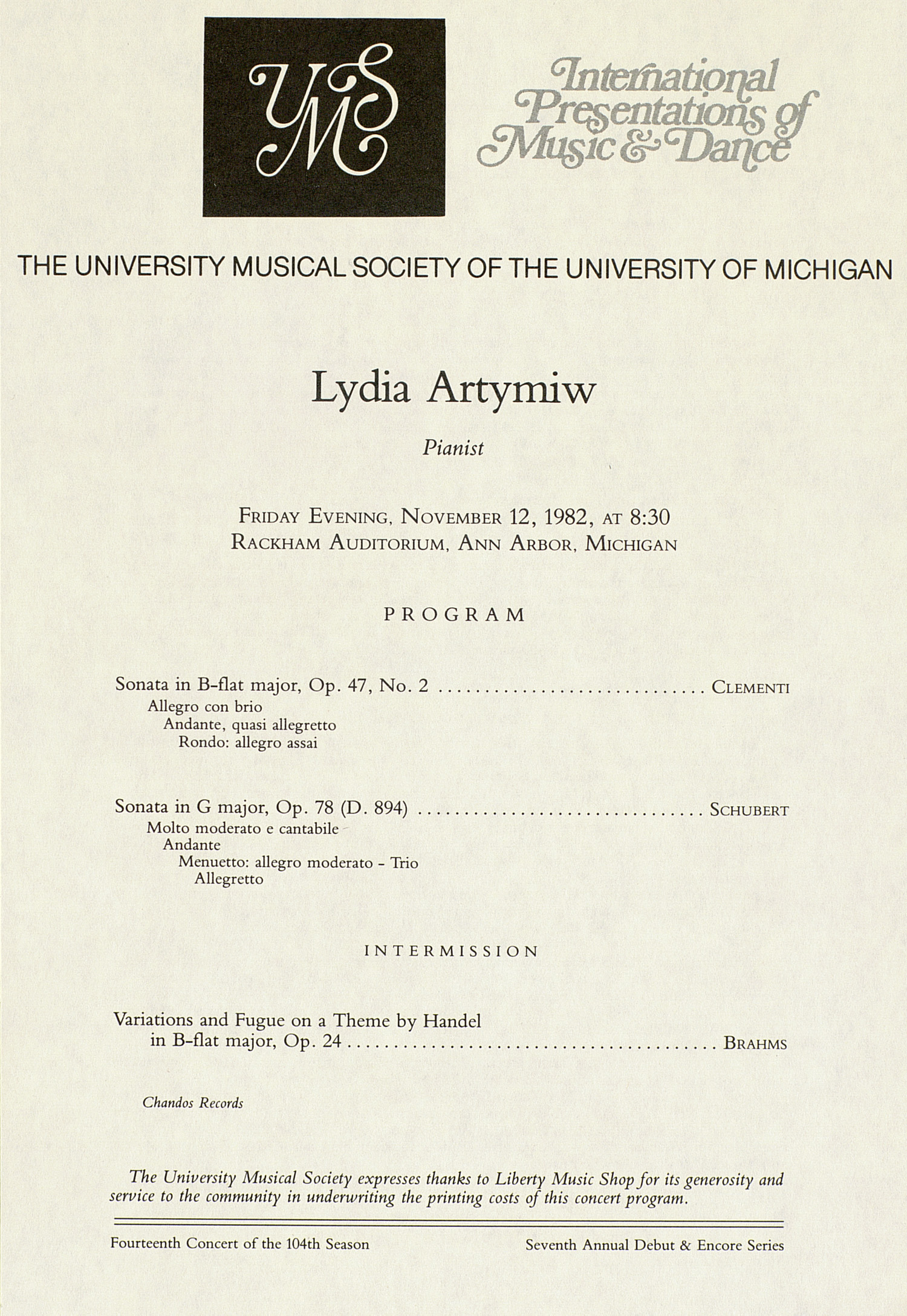 UMS Concert Program, November 12, 1982: International Presentations Of Music & Dance --  image