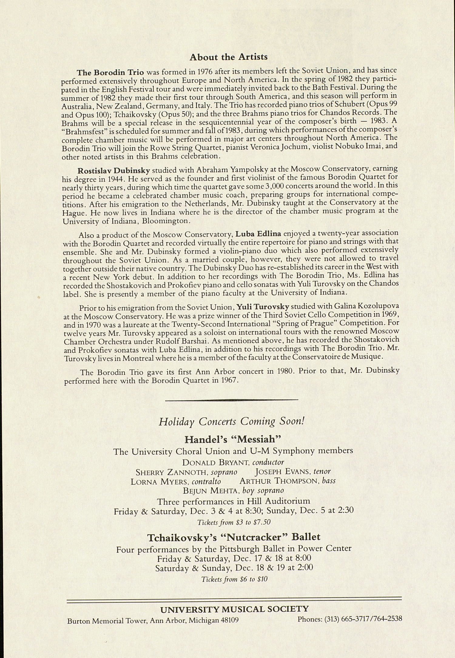 UMS Concert Program, November 20, 1982: International Presentations Of Music & Dance -- The Borodin Trio image