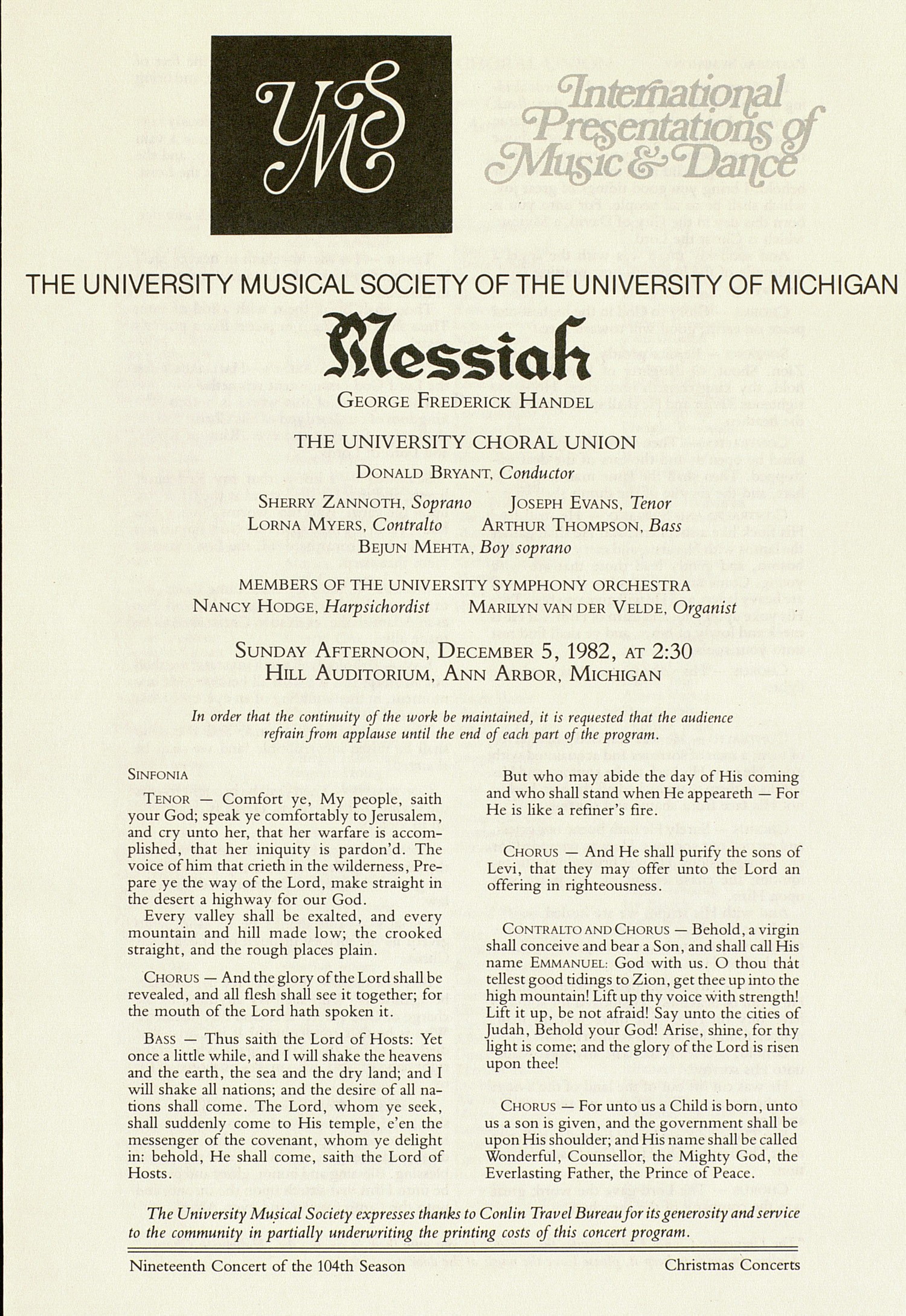 UMS Concert Program, December 5, 1982: Messiah -- George Frederick Handel image