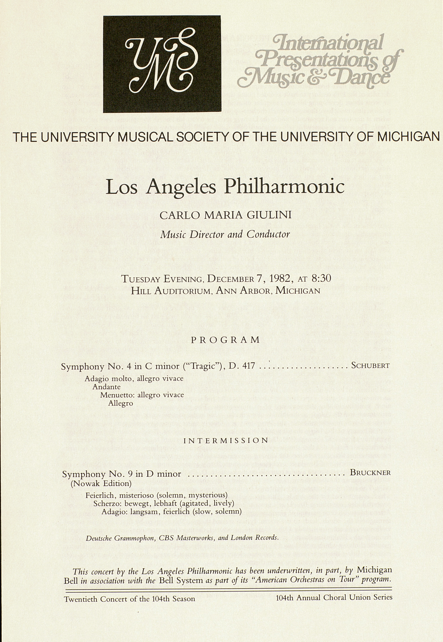 UMS Concert Program, December 7, 1982: Los Angeles Philharmonic --  image