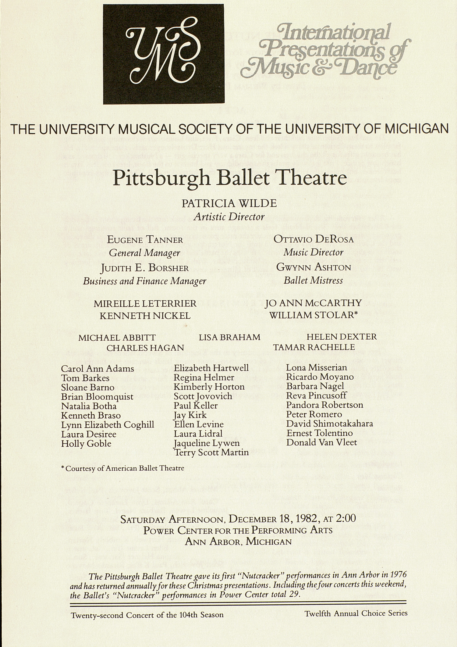 UMS Concert Program, December 18,1982: International Presentations Of Music & Dance -- Pittsburgh Ballet Theatre image