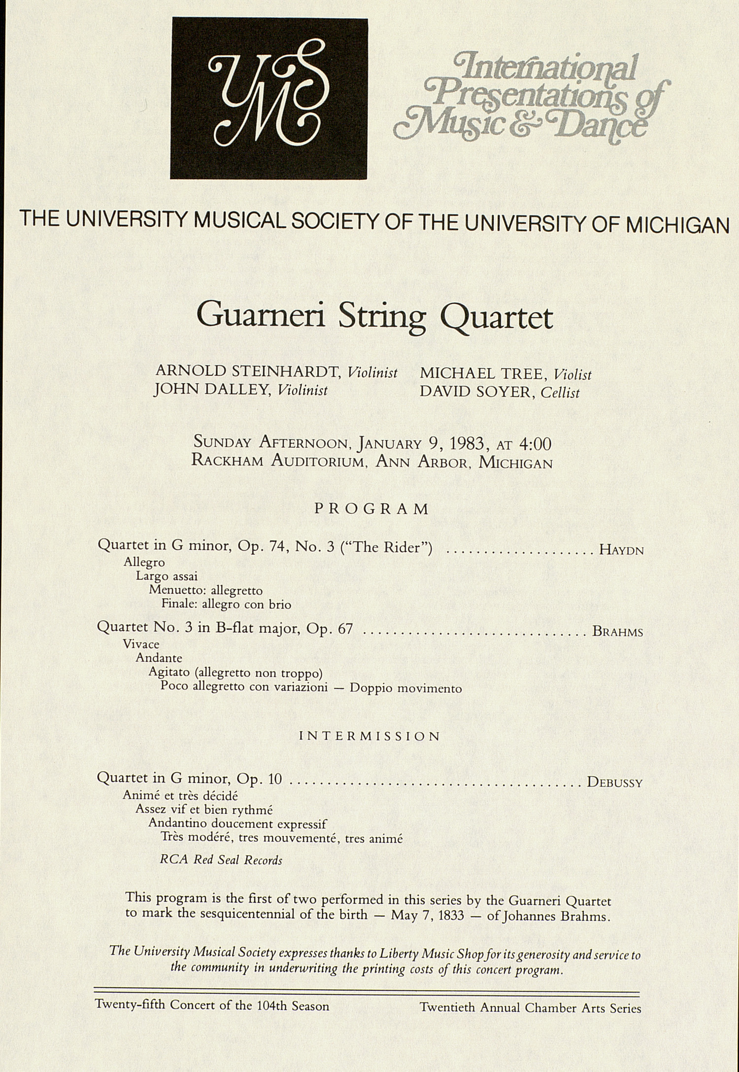 UMS Concert Program, January 9, 1983: Guarneri String Quartet --  image