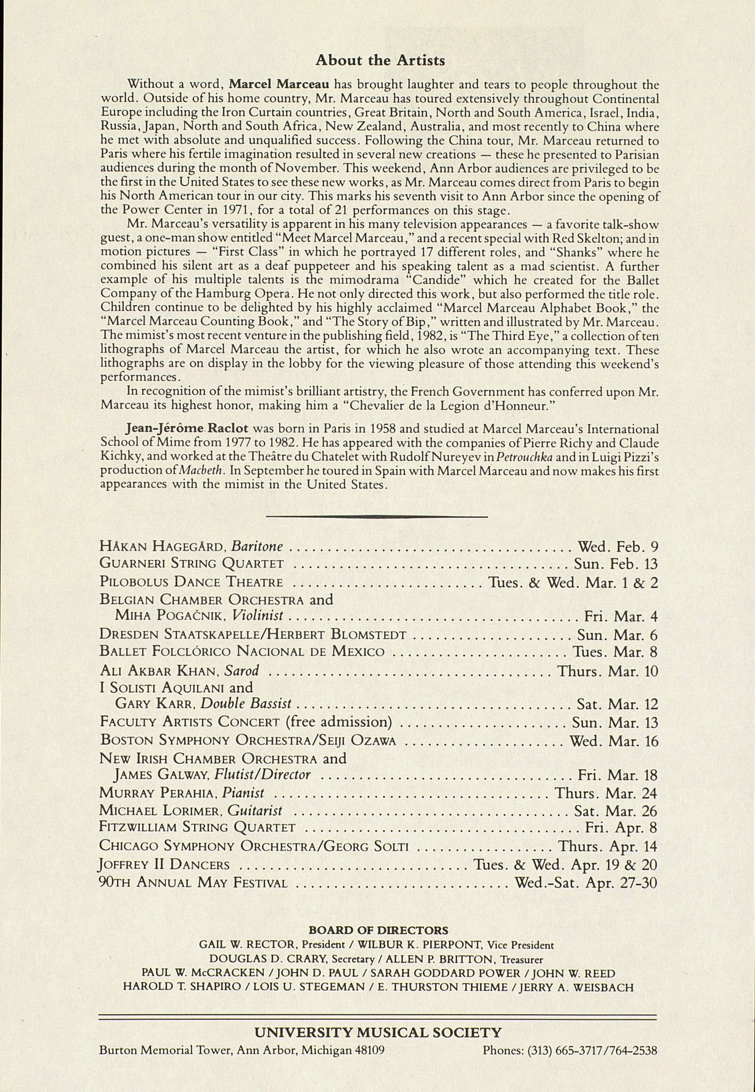 UMS Concert Program, January 30, 1983: International Presentations Of Music & Dance --  image