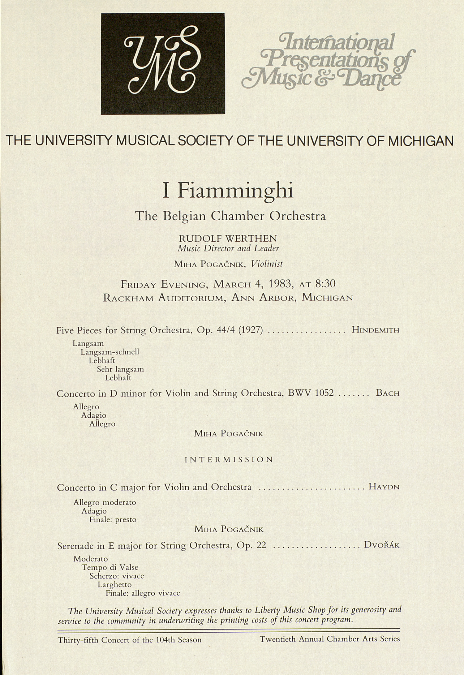 UMS Concert Program, March 4, 1983: I Fiamminghi -- The Belgian Chamber Orchestra image