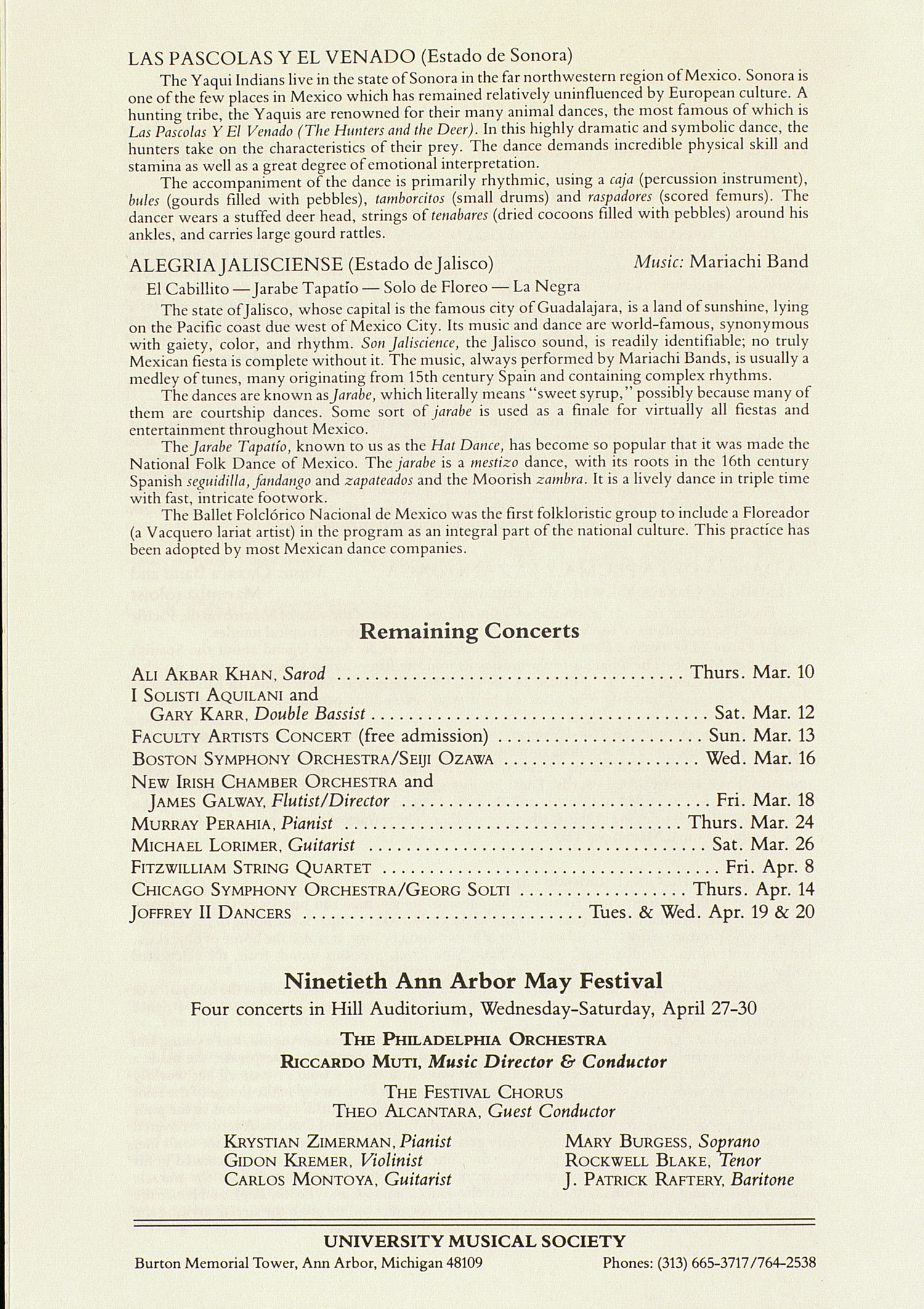 UMS Concert Program, March 8, 1983: Ballet Folclorico Nacional --  image
