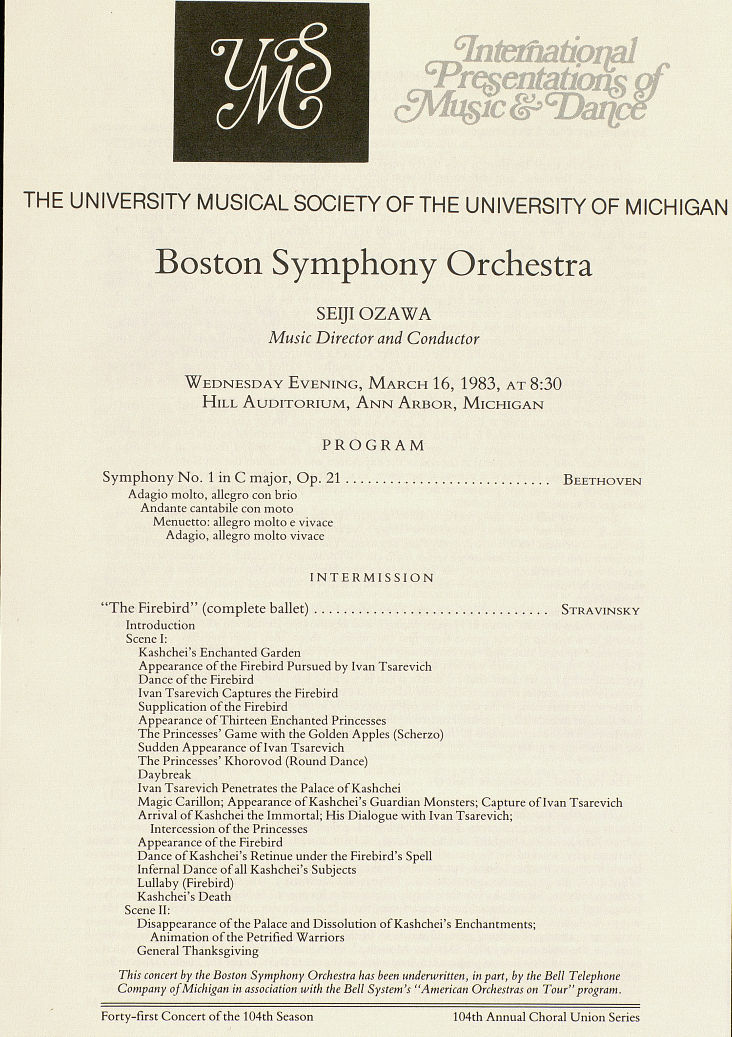 UMS Concert Program, March 16, 1983: International Presentations Of Music & Dance -- Boston Symphony Orchestra image