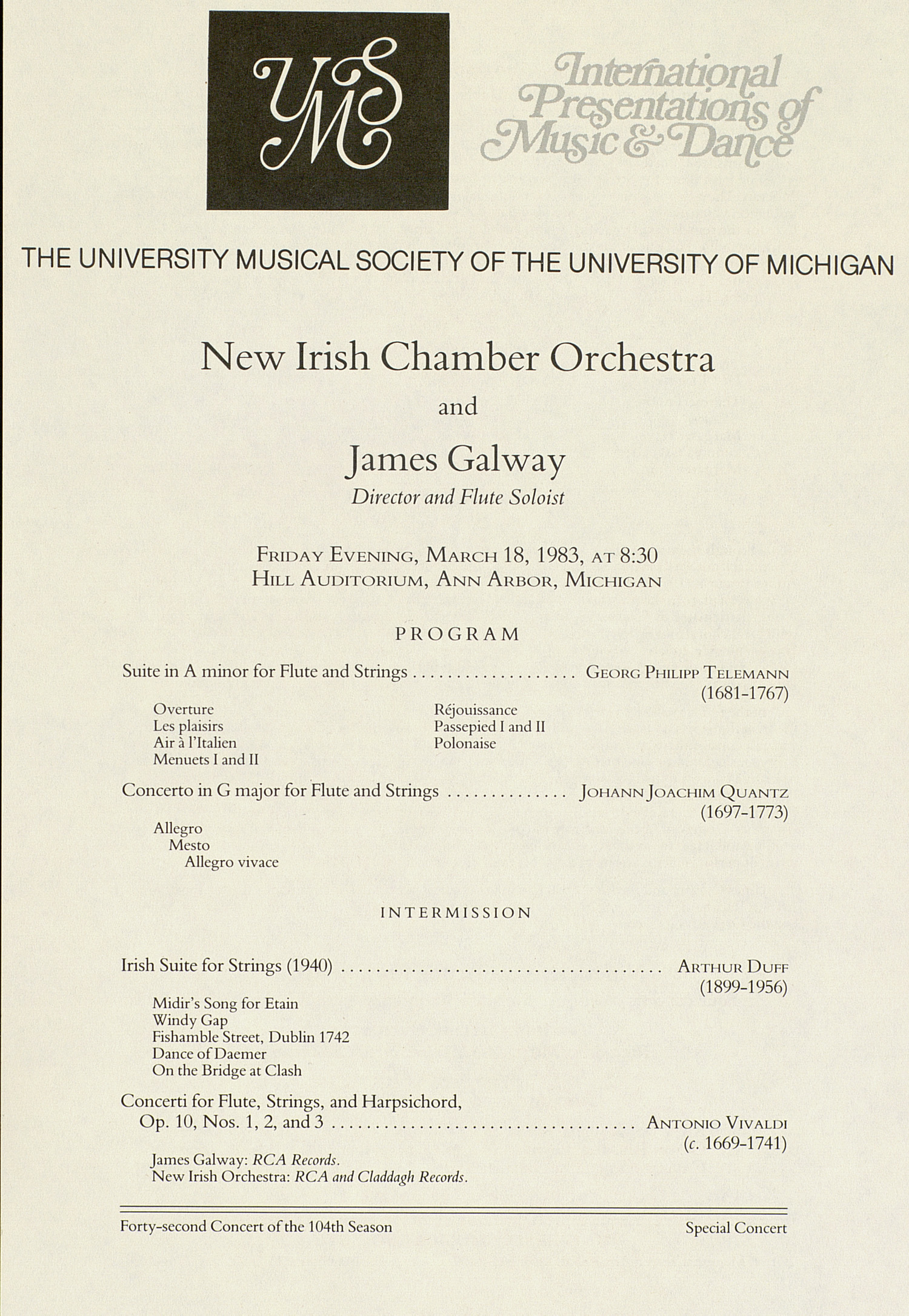 UMS Concert Program, March 18, 1983: International Presentations Of Music & Dance -- New Irish Chamber Orchestra image