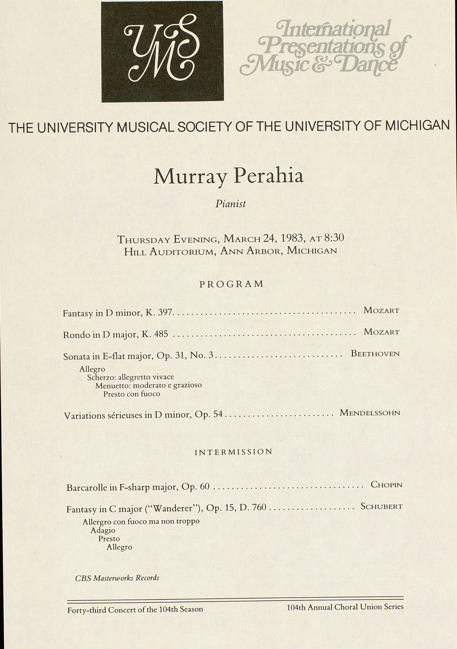 UMS Concert Program, March 24, 1983: International Presentations Of Music & Dance --  image